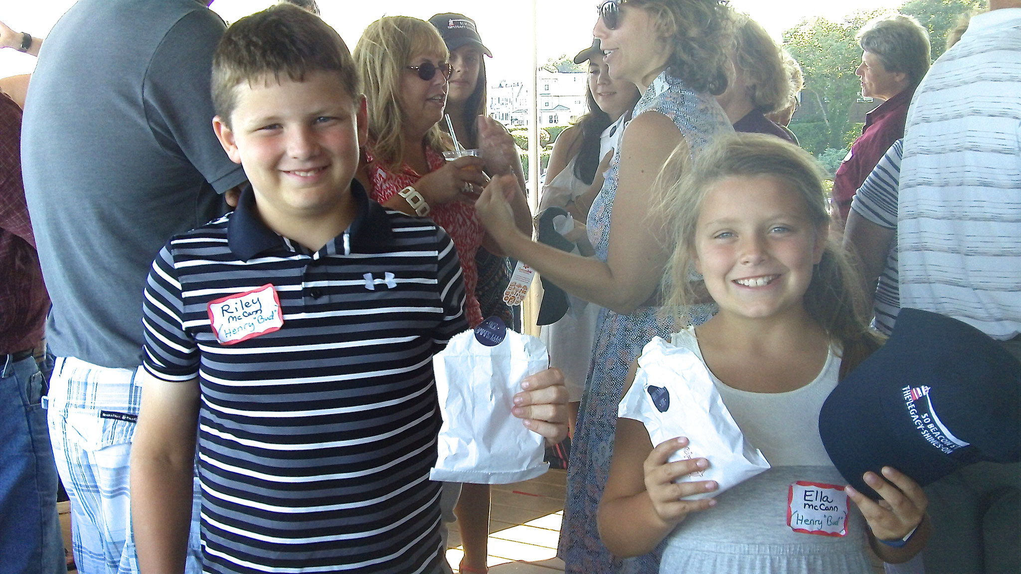 Riley & Ella (Bethany & Mike's children, Bud's great grandchildren) enjoy the party favors