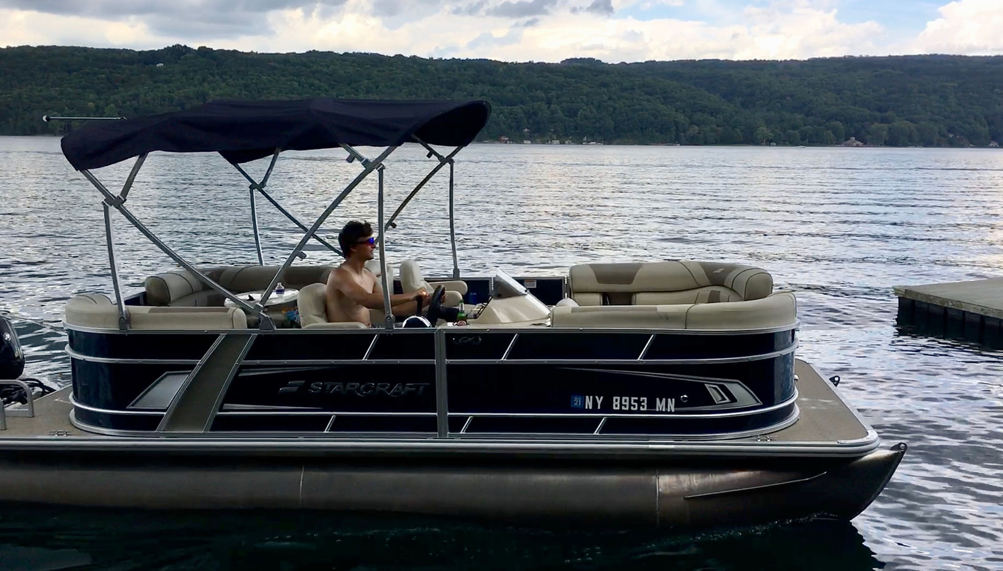 Jack drives the new pontoon boat