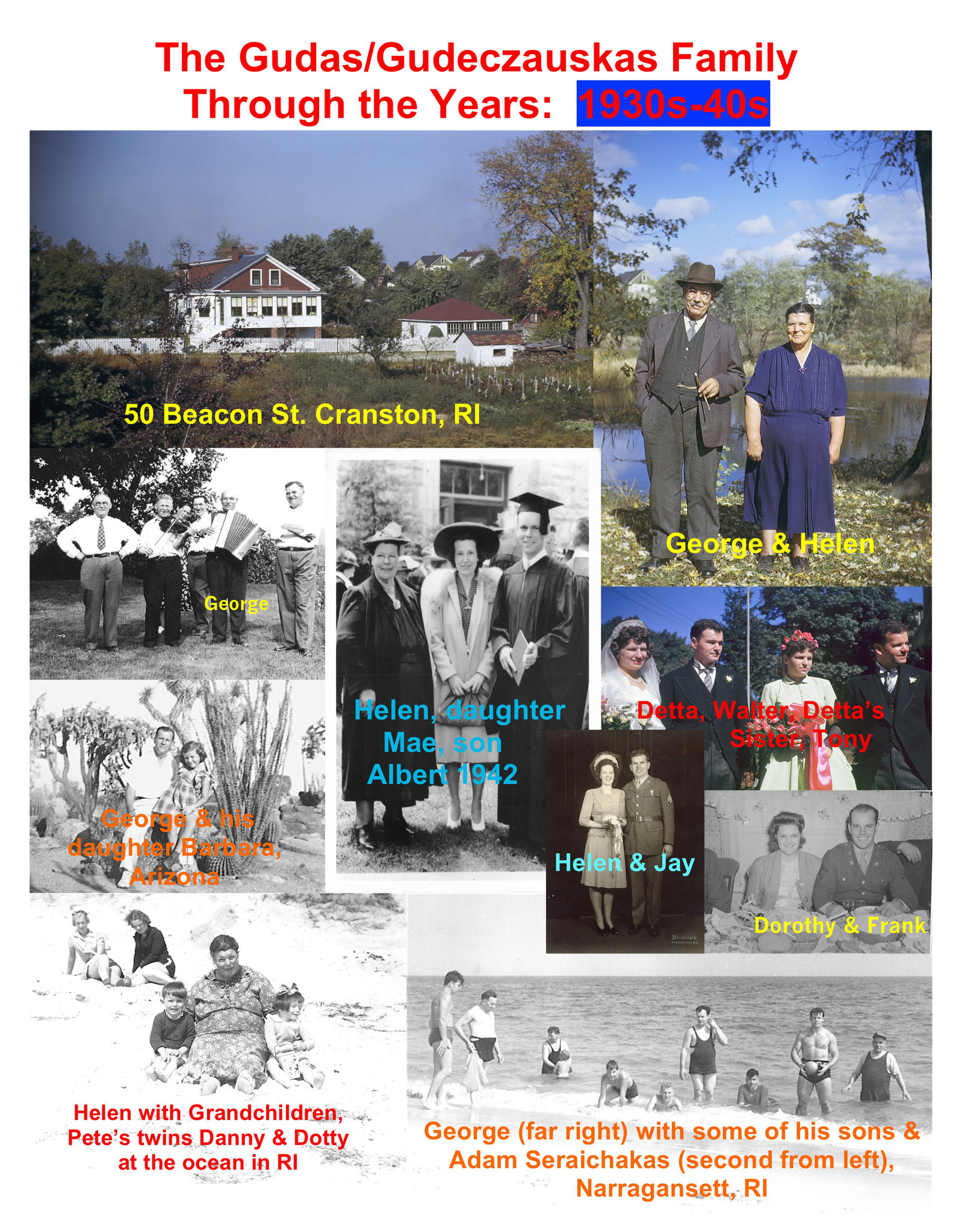 Lorraine put together collages of family pictures showing the Gudas/Gudeczauskas family over the last 90 years!