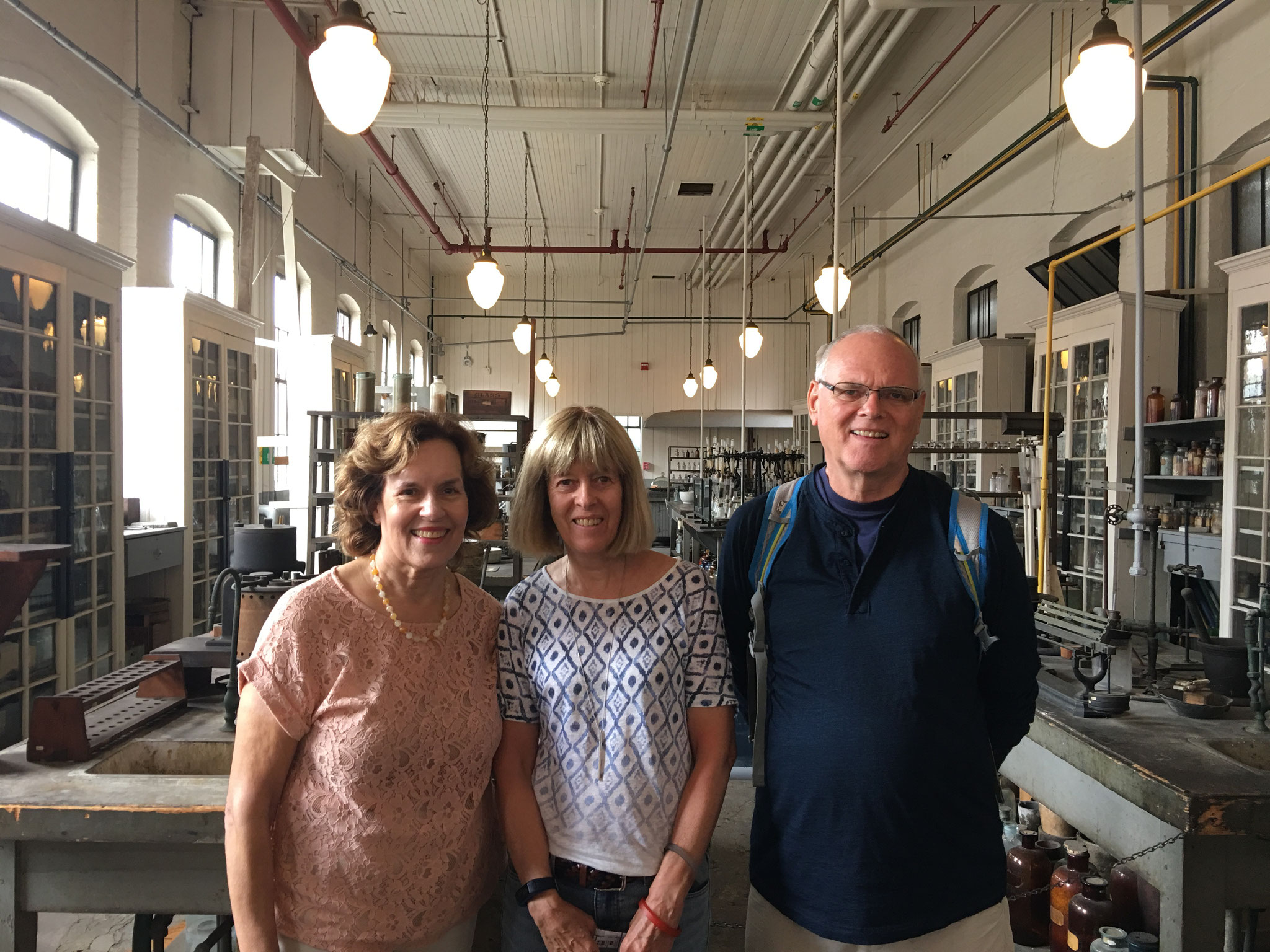 Lorraine, Nancy Hynes, & Bernd Groner in Edison's chemsitry lab, 7-29-2017