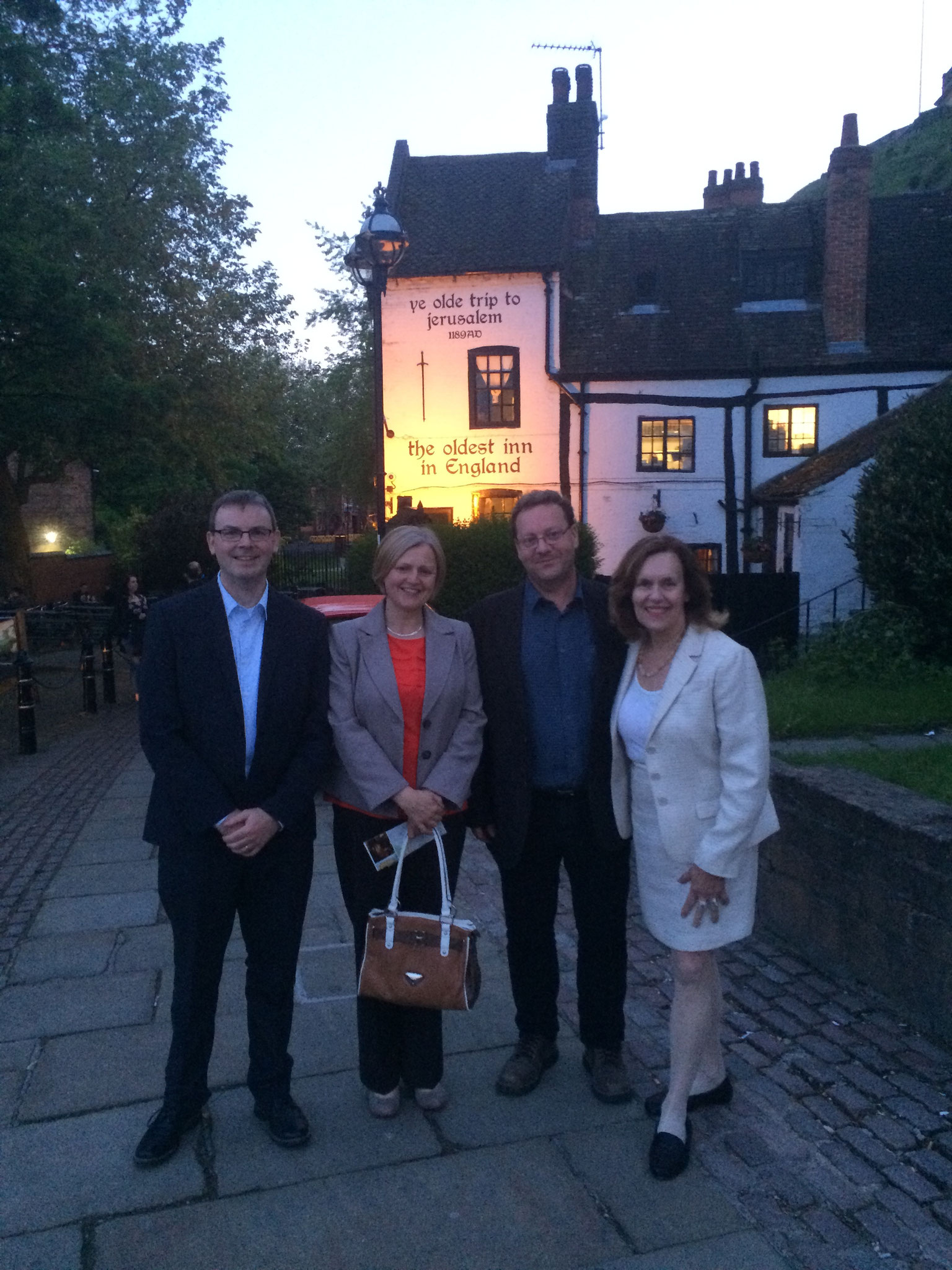 Nigel Mongan, Sharon McEnna, David Heery, Lorraine Gudas in front of the oldest tavern in England, Nottingham, England