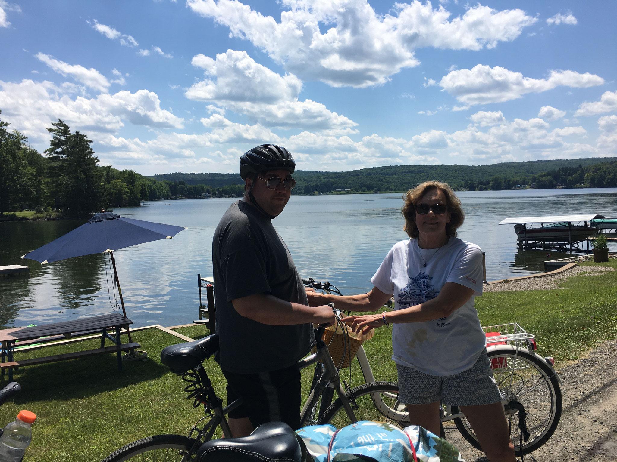Greg & Lorraine biking around Tuscarora Lake, 7-4-2020