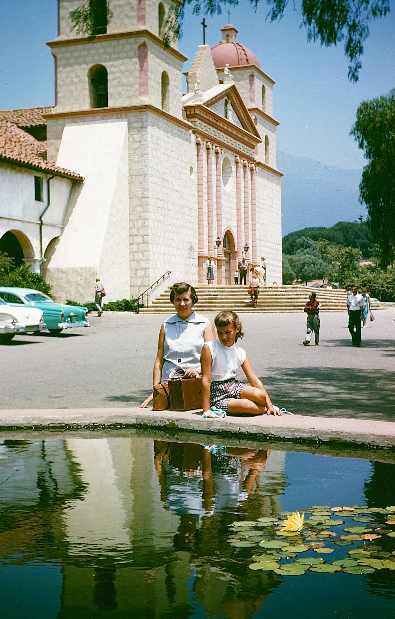 an old, Eleanor & Lorraine as a kid at the Santa Barbara mission, CA