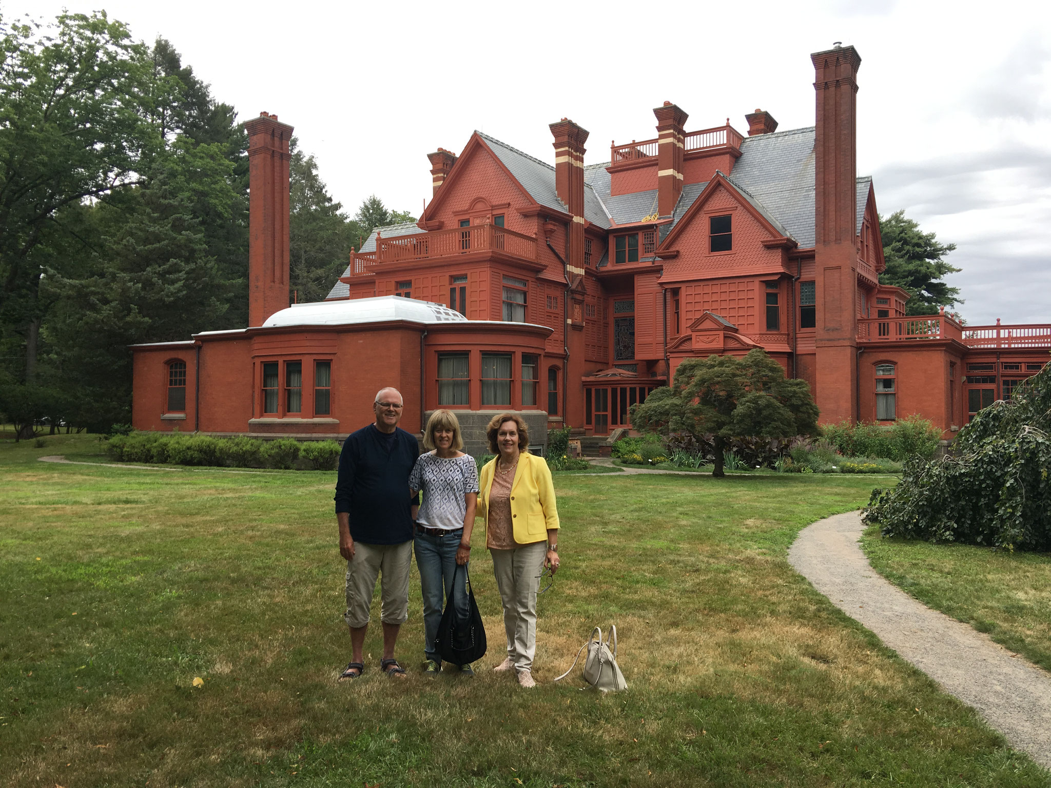 Bernd, Nancy & Lorraine Gudas in front of Glenmont, in Orange NJ