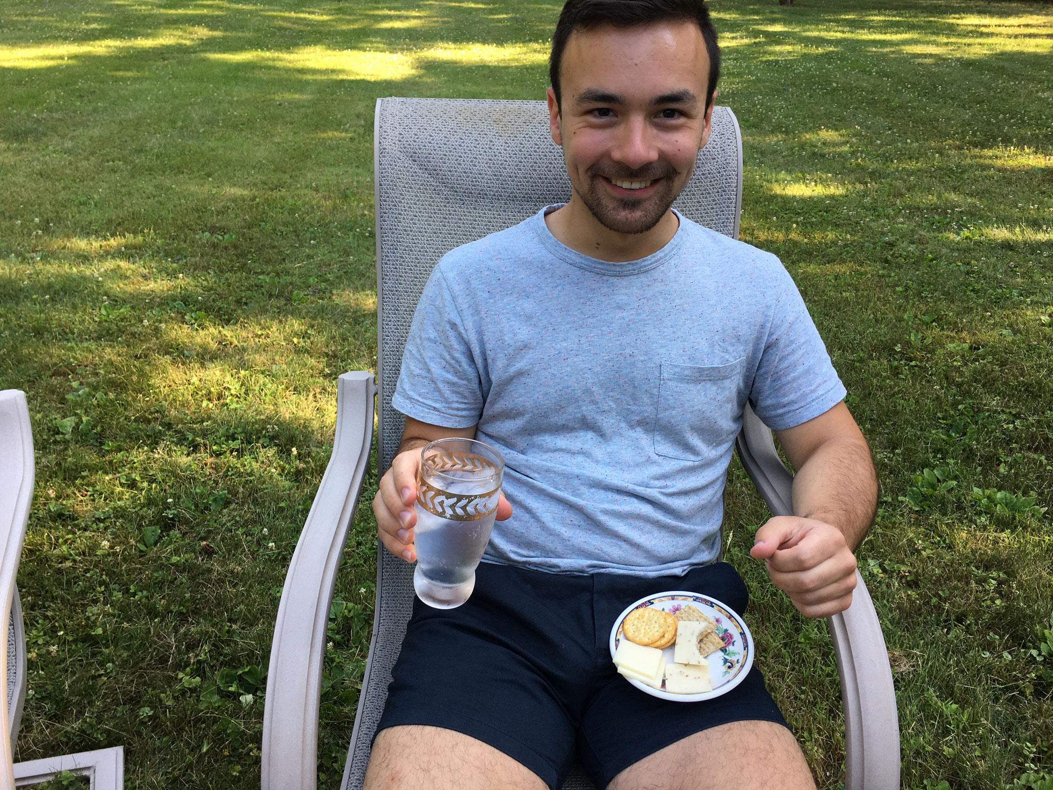 Trevan enjoying his Gin and Titonic drink