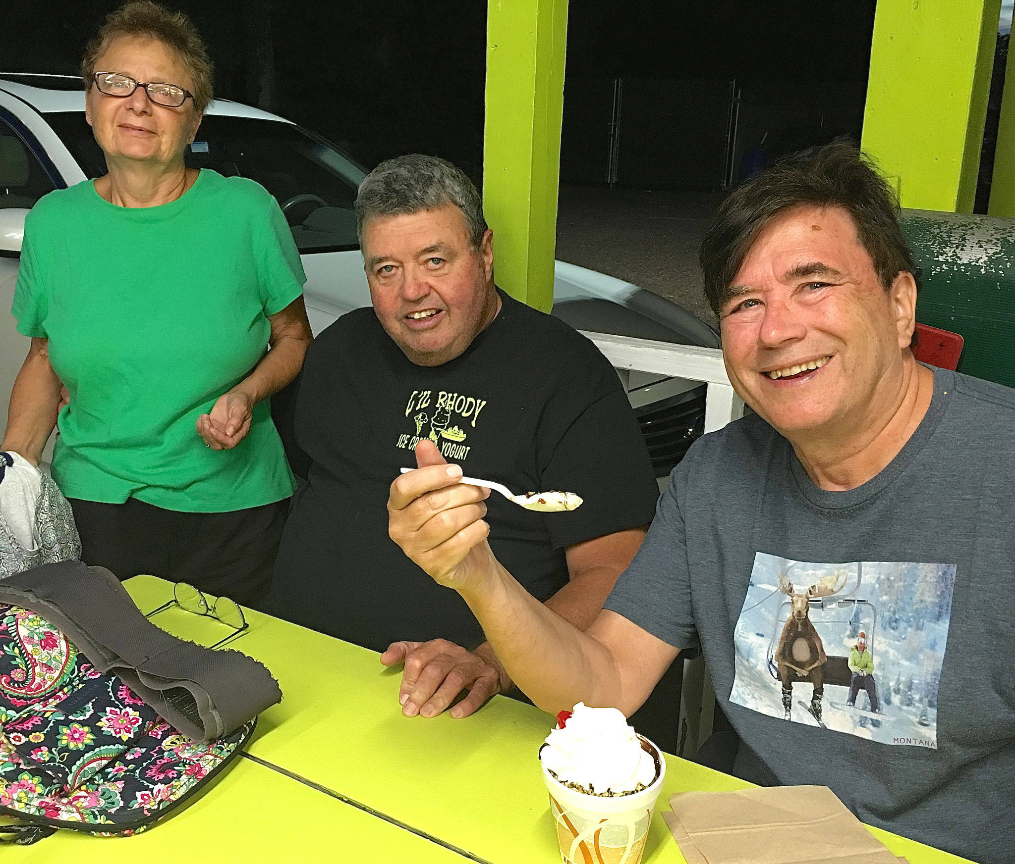 Belinda (Bill's wife), Bill & John enjoying a great dessert!!