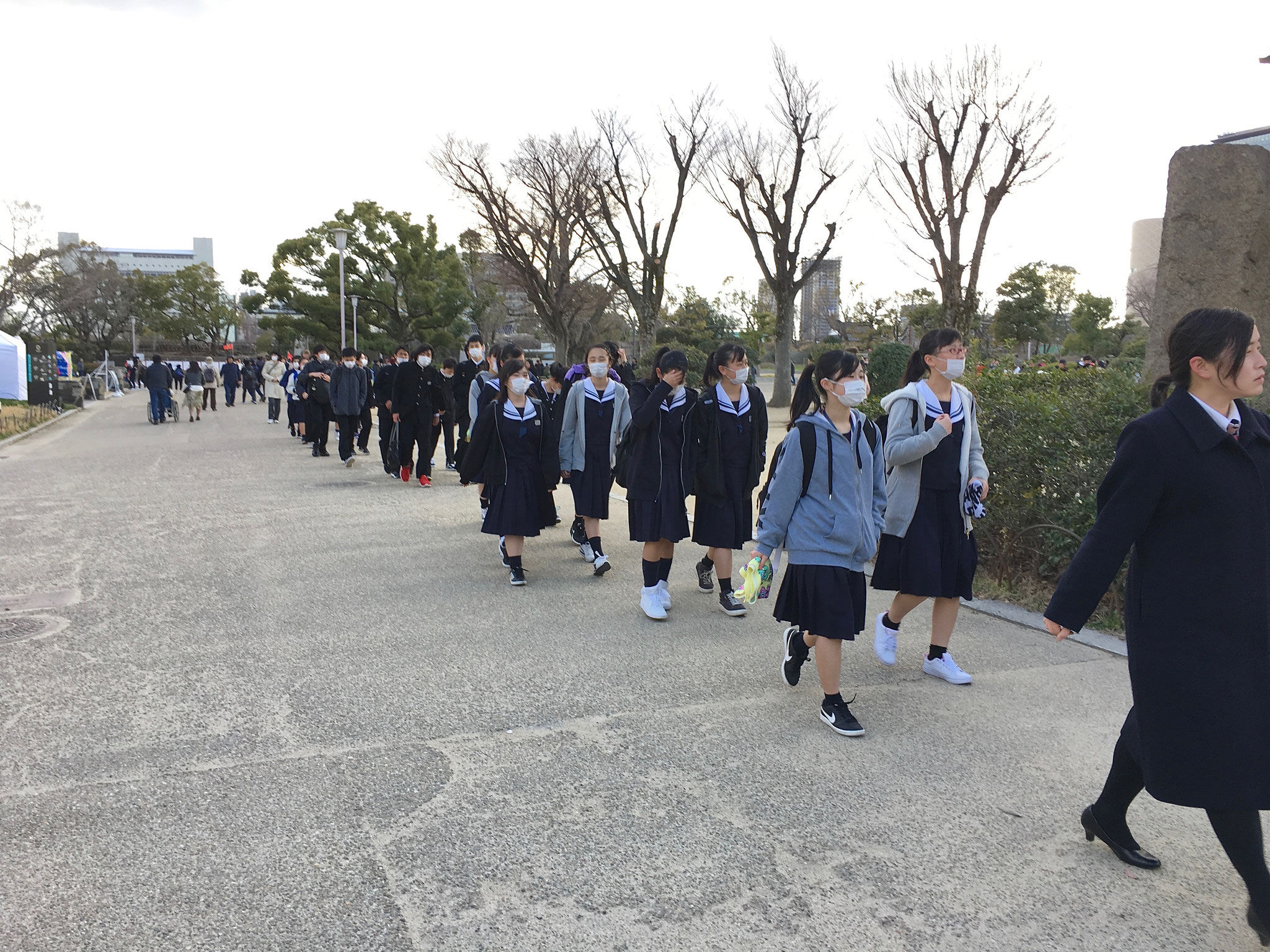 School children visiting Osaka Castle.