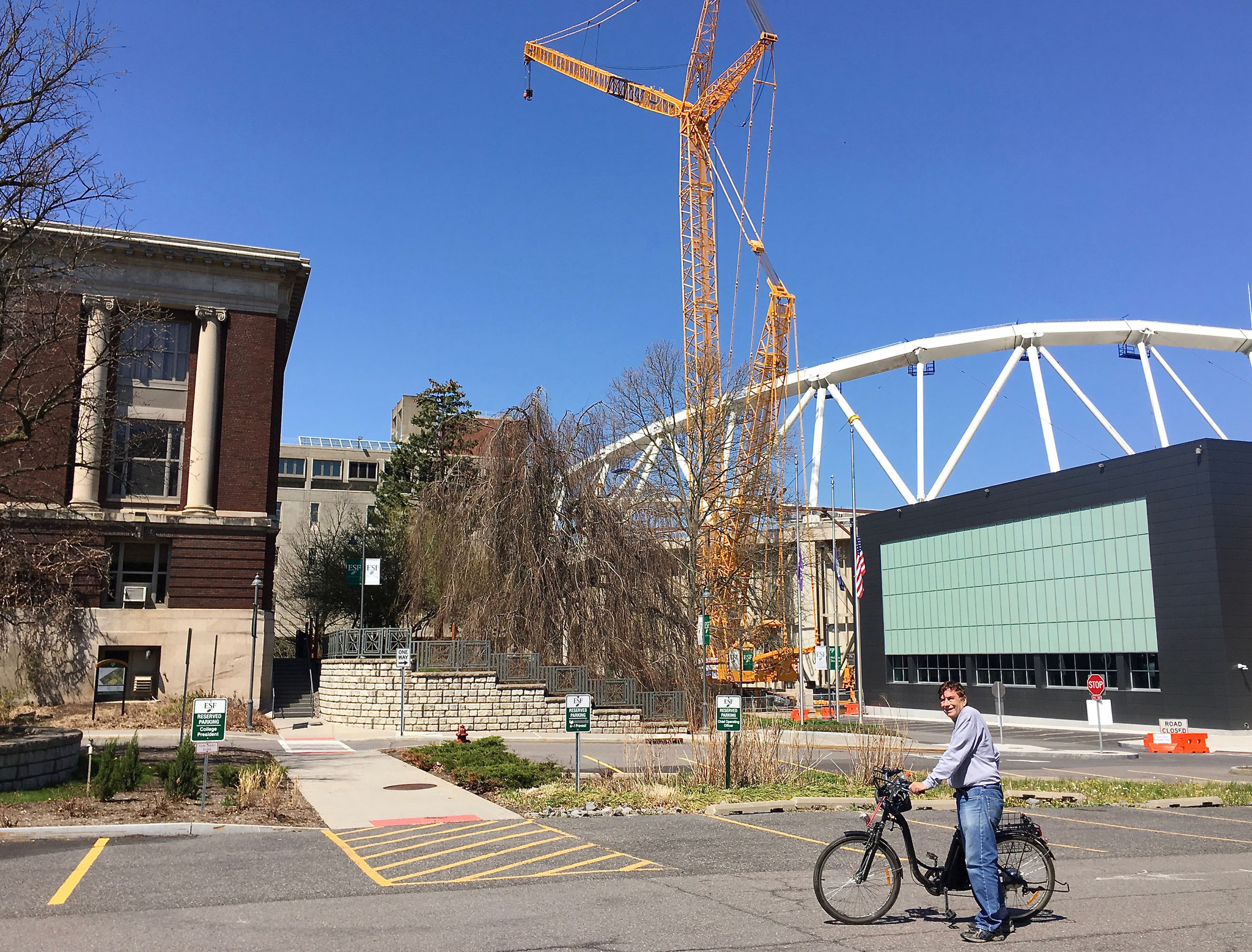 College of Forestry/Envir. Sci. where Lorraine did her NSF summer project, plus the Dome being reconstructed