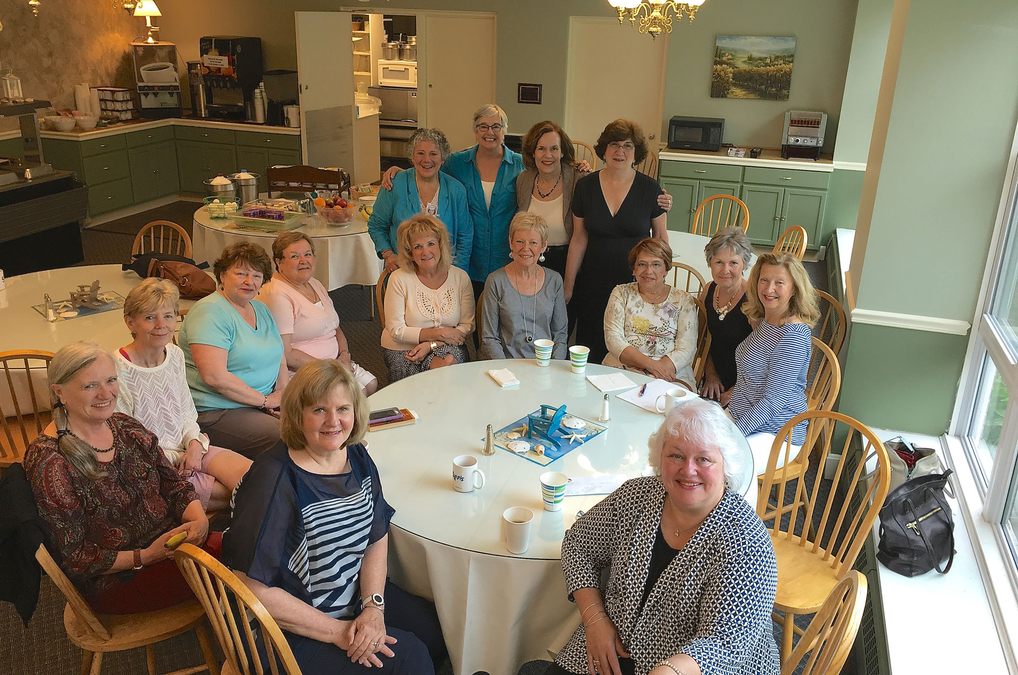 from left bottom: Joanne, Patty, Marie, Theresa, Diane, Susie, Janelle, Maria, Janet, Patricia, Mary Jane.  Four in back standing: Sue, Pat, Lorraine, Elva