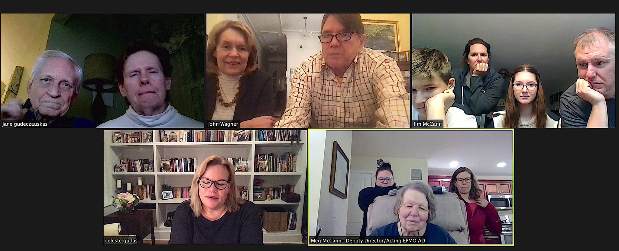 Zoom, fall 2020, Covid time, Jerry & Jane, Lorraine & John, Connie & Jim & family; Celeste, and Erin, Margaret, & Meg