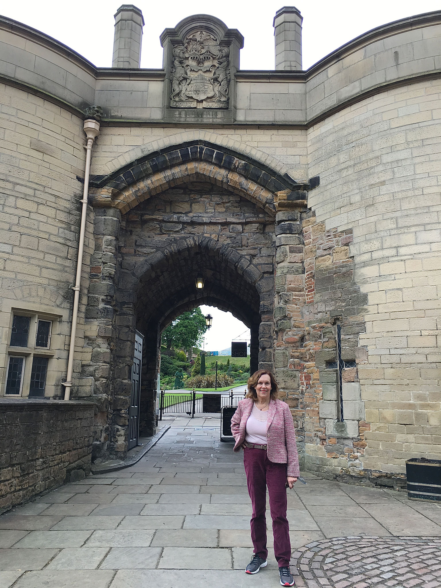 Lorraine Gudas in front of Nottingham Castle