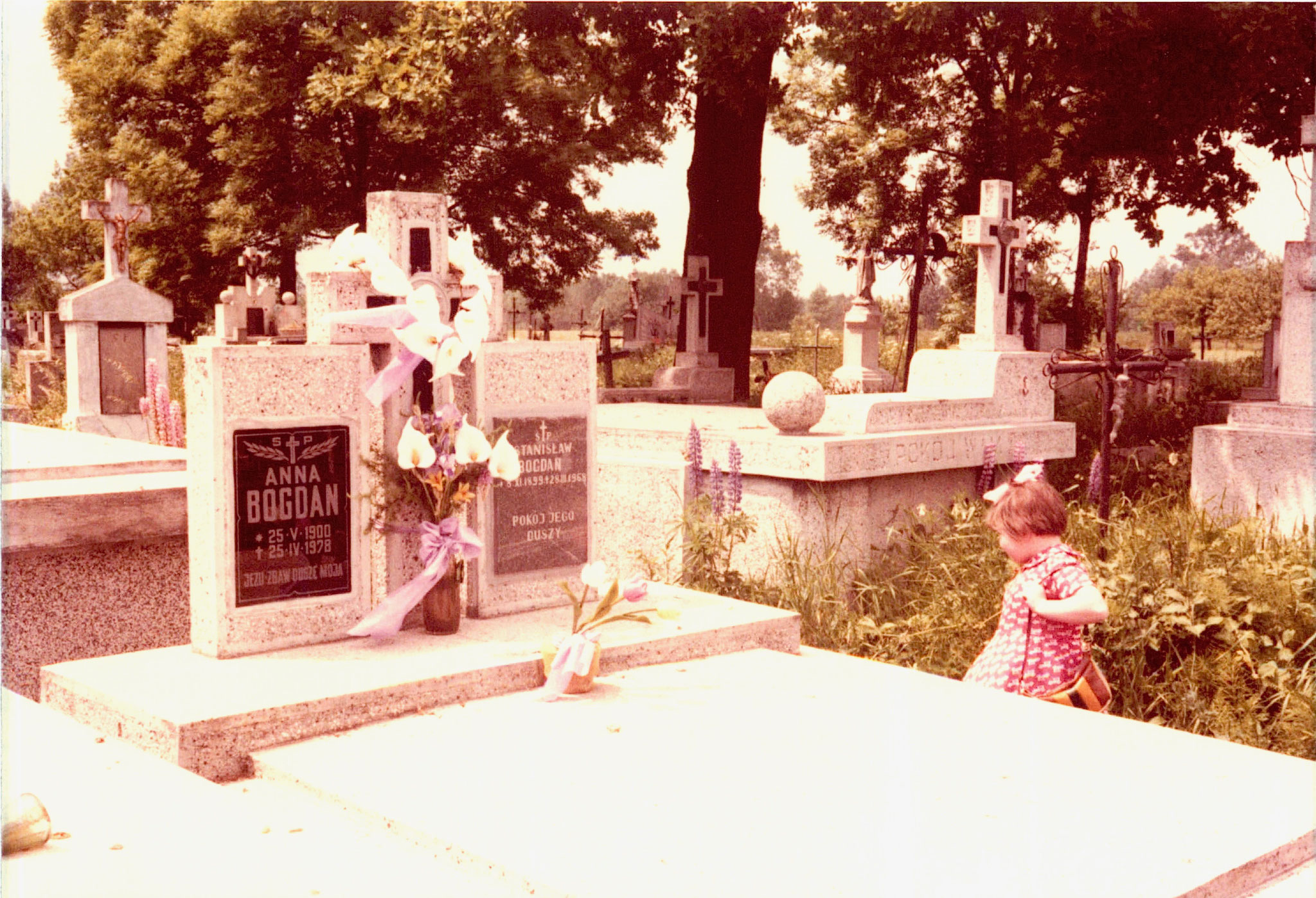 Stanislaw & Anna Bogdanowic' grave 1978; Stanislaw (Stanley) was a brother of Paul Bogden (also Bogdan). Irena behind graves!