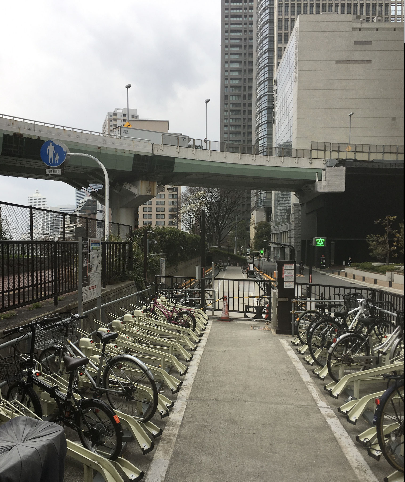 Bicycle charging stations in Osaka.