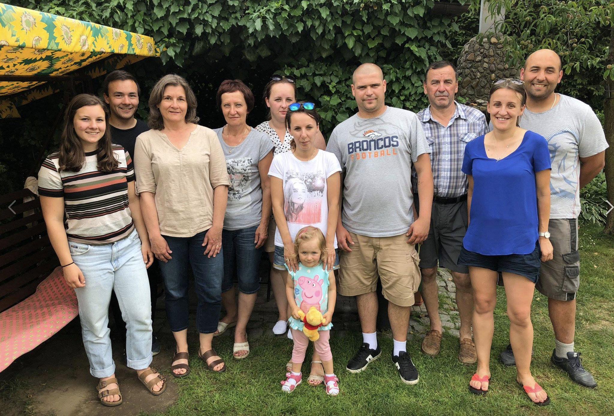 Cyndi's trip to Poland, June, 2018; Sara, Trevan, Cyndi, Halina & Joanna Krawczyk, Natalia Kardys & Maja, Miroslaw Kardys, Krystof Krawczyk, Paulina & Tomasz Filipowicz
