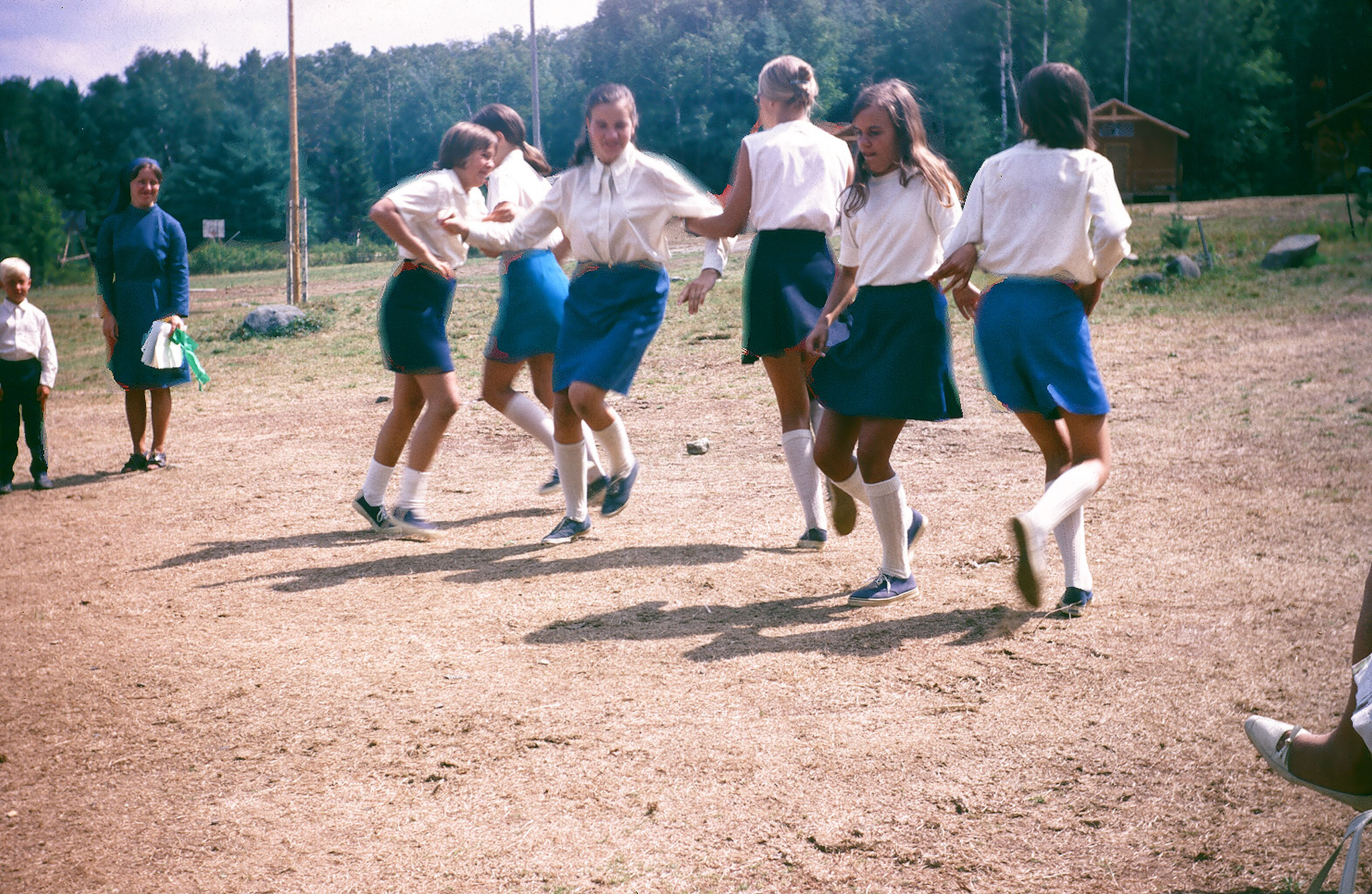 Lithuanian Camp Neringa, doing a Lithuanian folk dance