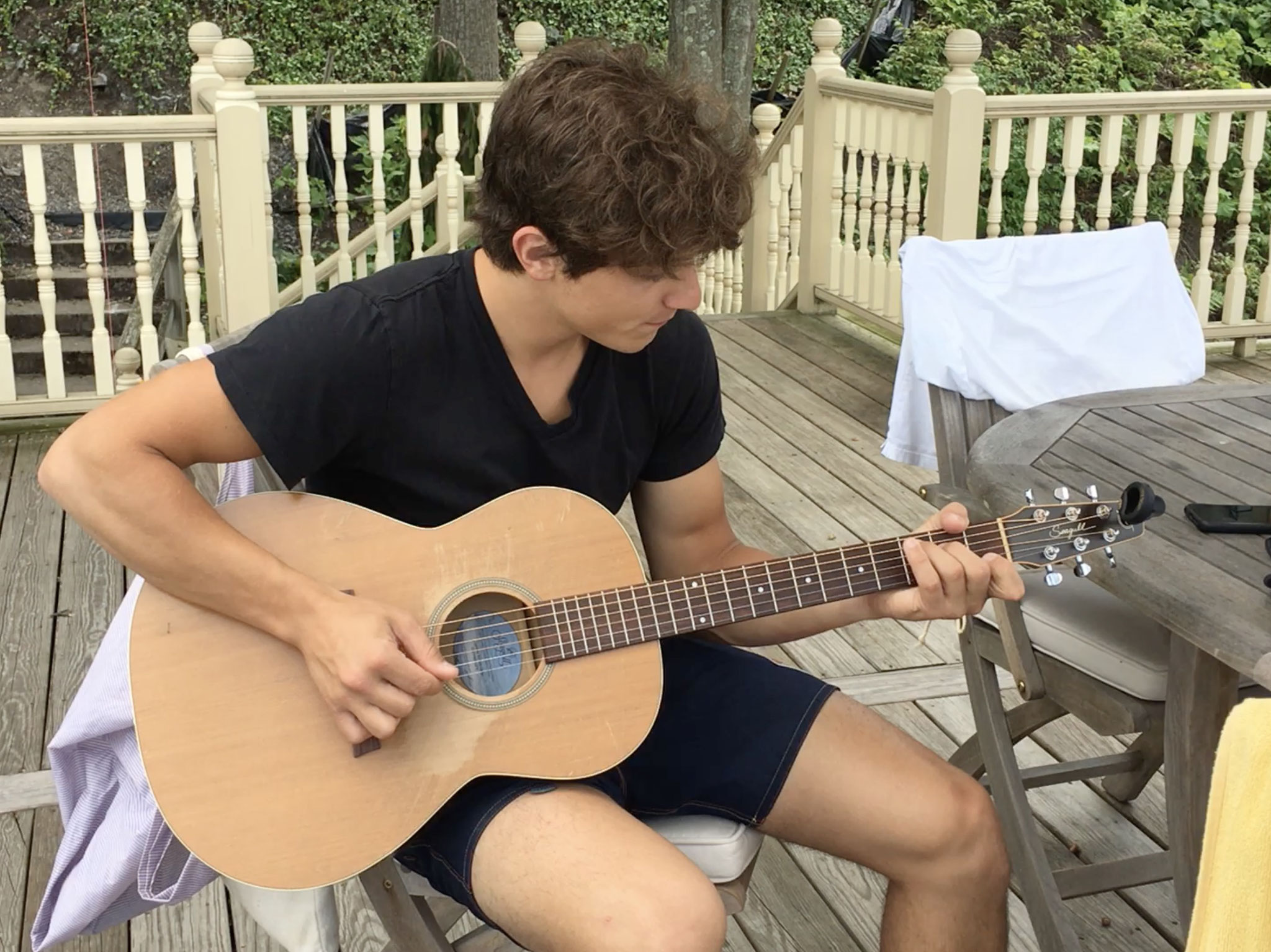Dino playing the guitar, 8-2020