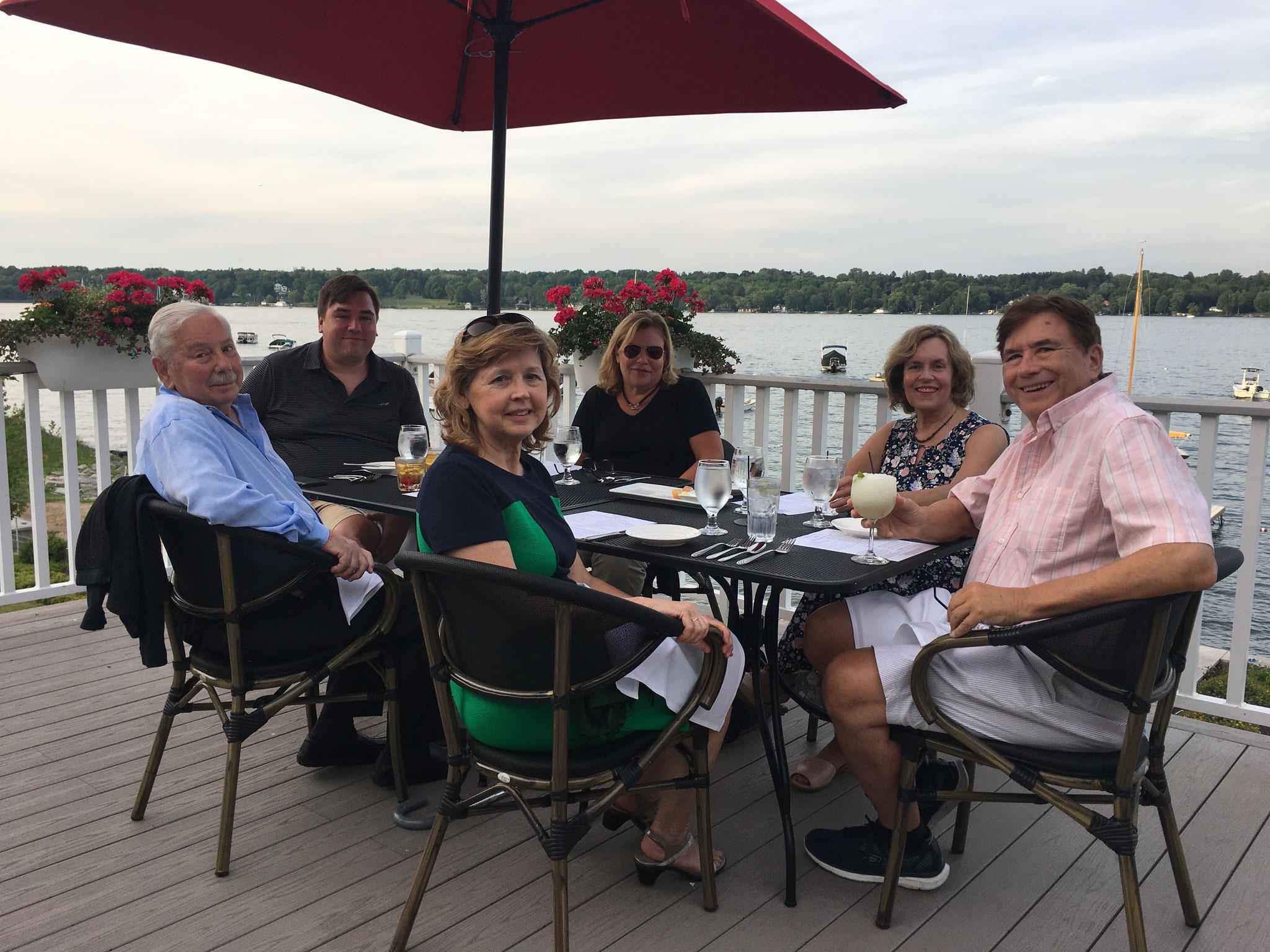 Don Fischman, Greg, Barbara, Celeste, Lorraine & John at the Skaneateles Country Club, 7-2020