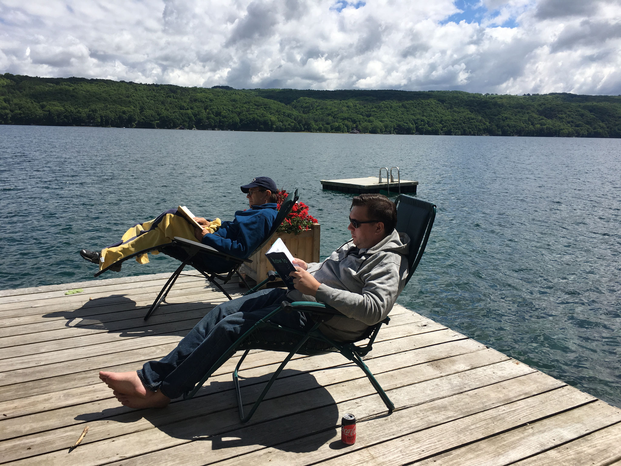 John & Greg relaxing on Skaneateles Lake, 7-2020