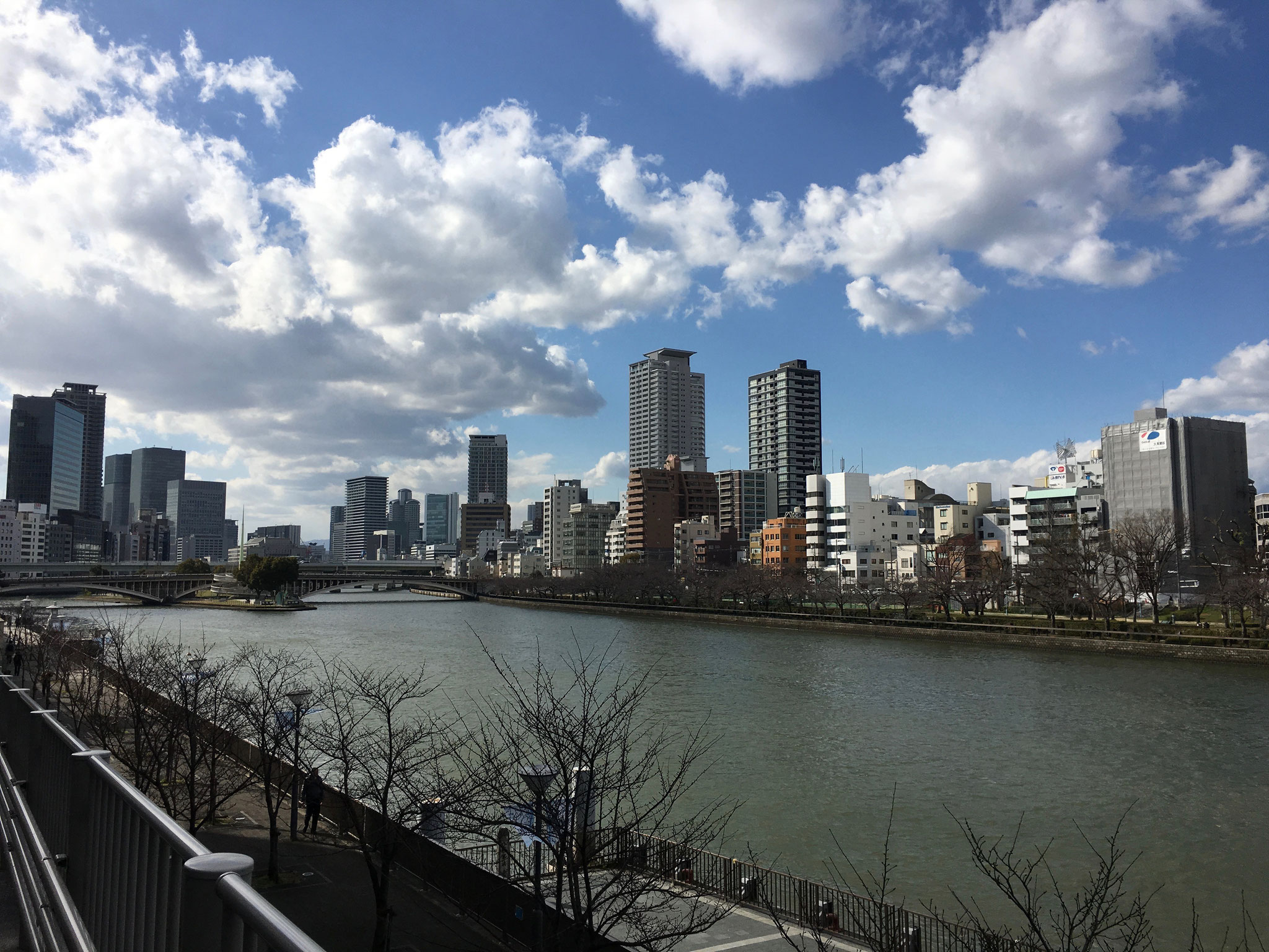View of one of the two rivers in Osaka.