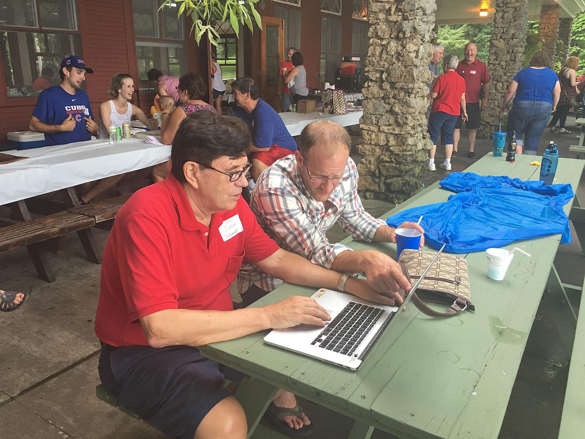 John Wagner entering some more genealogy data with Tim Wagner