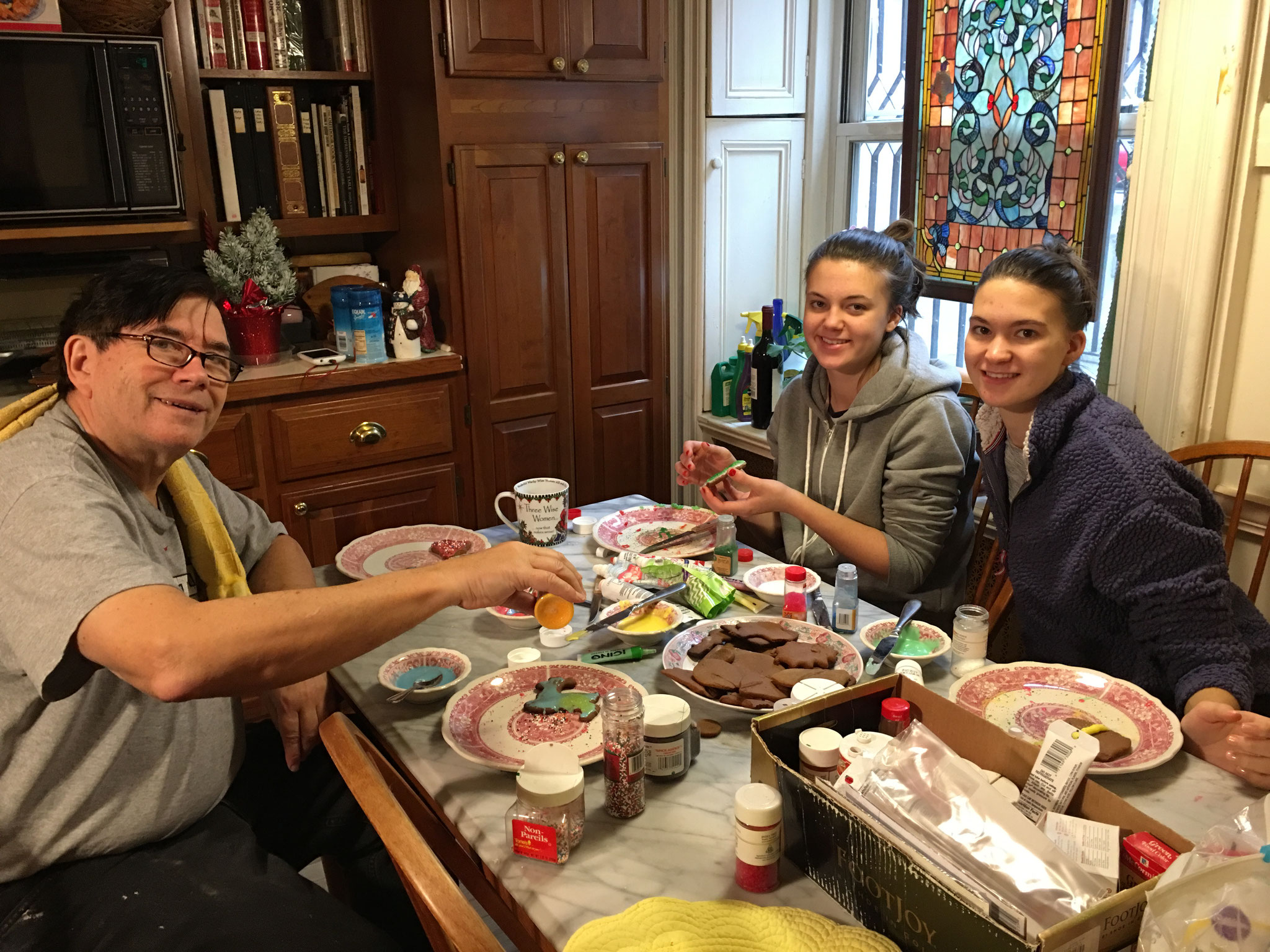 John, Ellie & Kate decorating cookies!