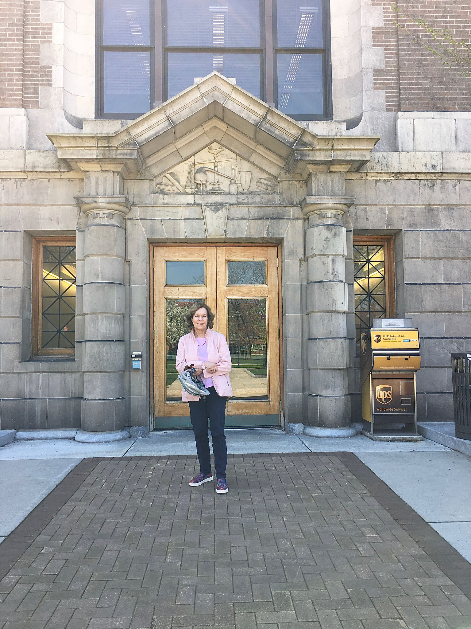 Lorraine in front of Chemistry Bldg, Syracuse Univ. May, 2020