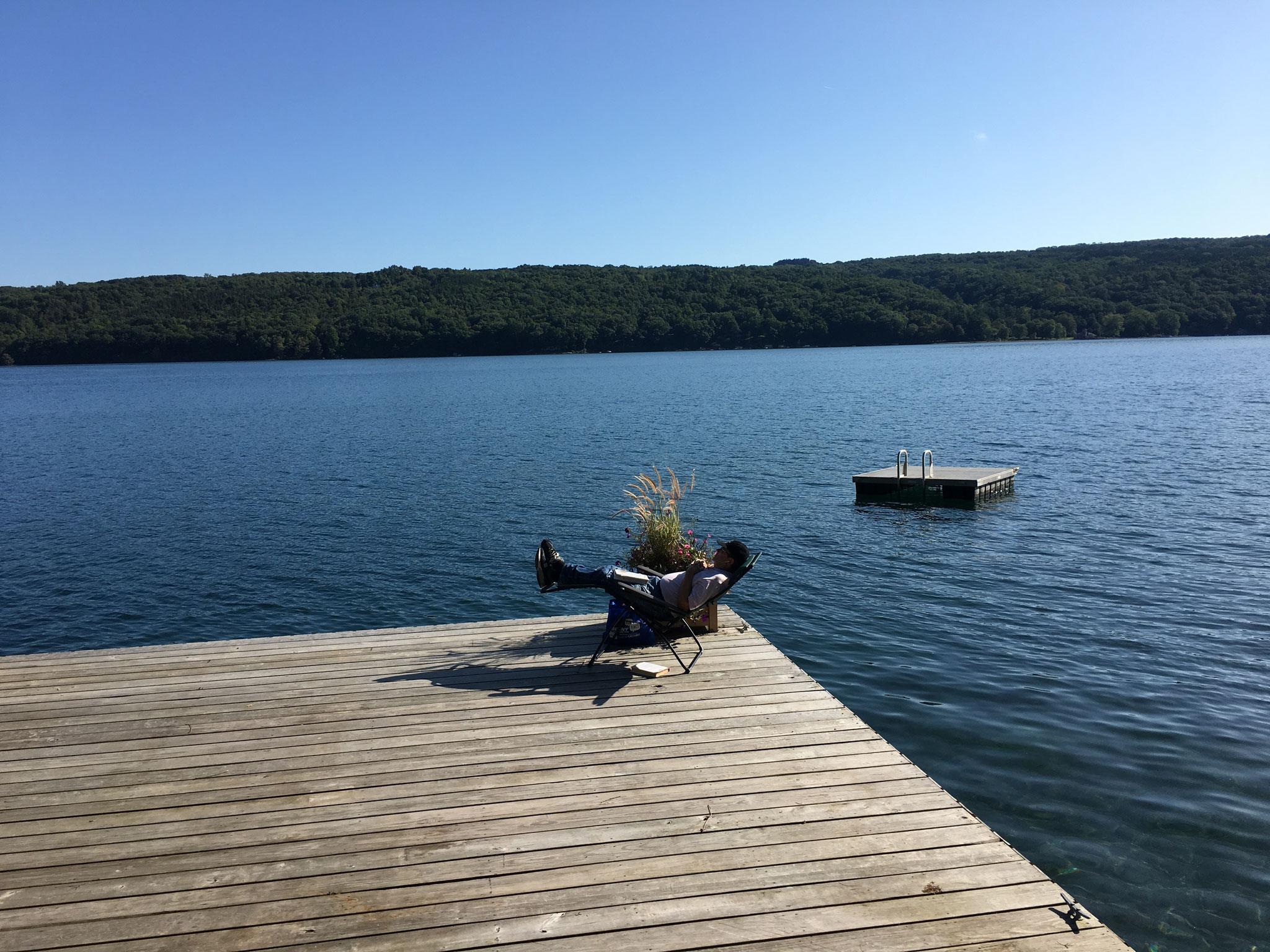 John on a sunny day, Skaneateles Lake