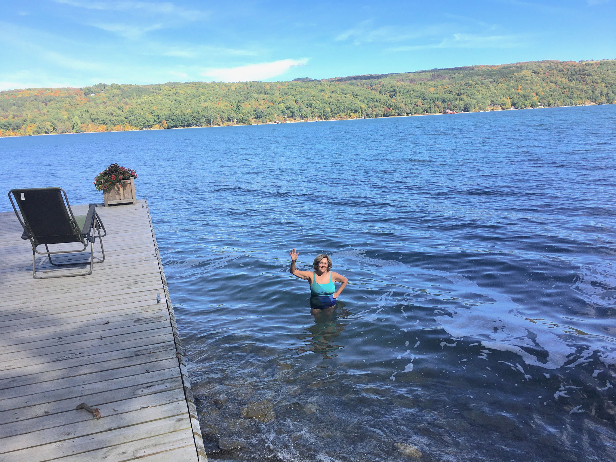 swimming in Skaneateles Lake, 9-27 and 9-29-20! Chilly but nice!!