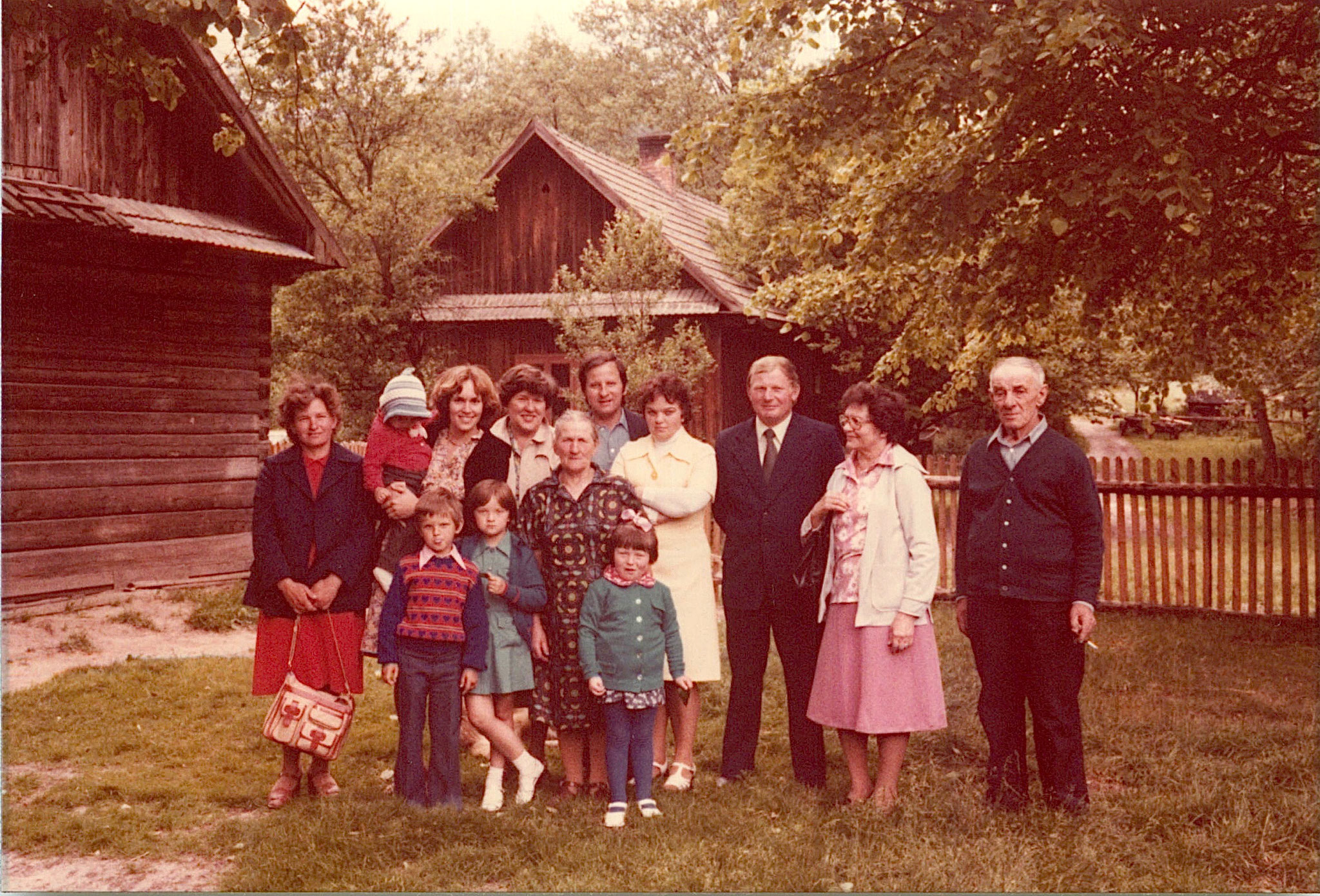 Gathering at the original home of Paul Bogdan; Germans burned this home & Walter now lives in a newer home, built since WWII behind this site. Jadwiga, Adam, Margaret, Lorraine holding Ala, Eleanor, Julia, Irena, Stanley & Halina, Genek,Mayme,Walter1978