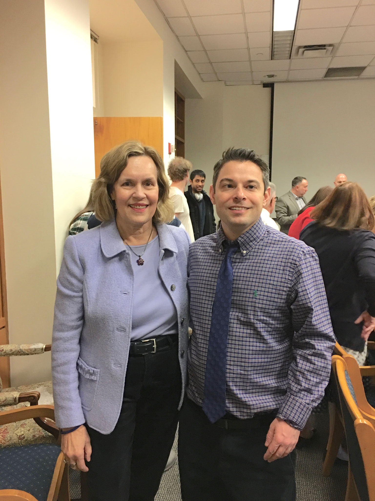 Lorraine with grad student Ryan Serio, Jan. 2019, at his thesis defense.