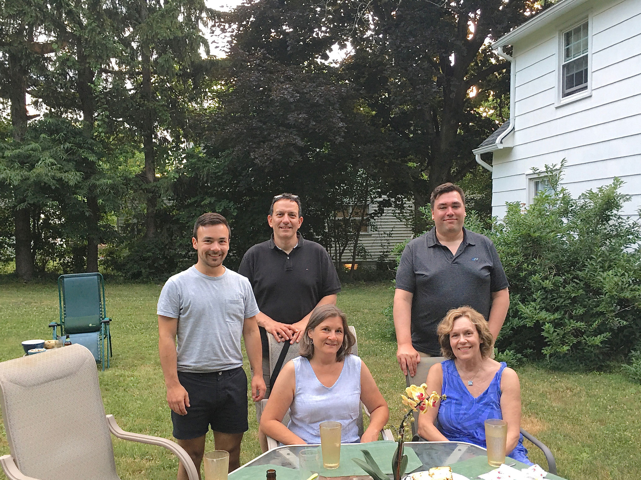 Trevan, Nick, Cyndi, Greg, Lorraine at the home of El and Al, Syracuse, NY 7-4-2020