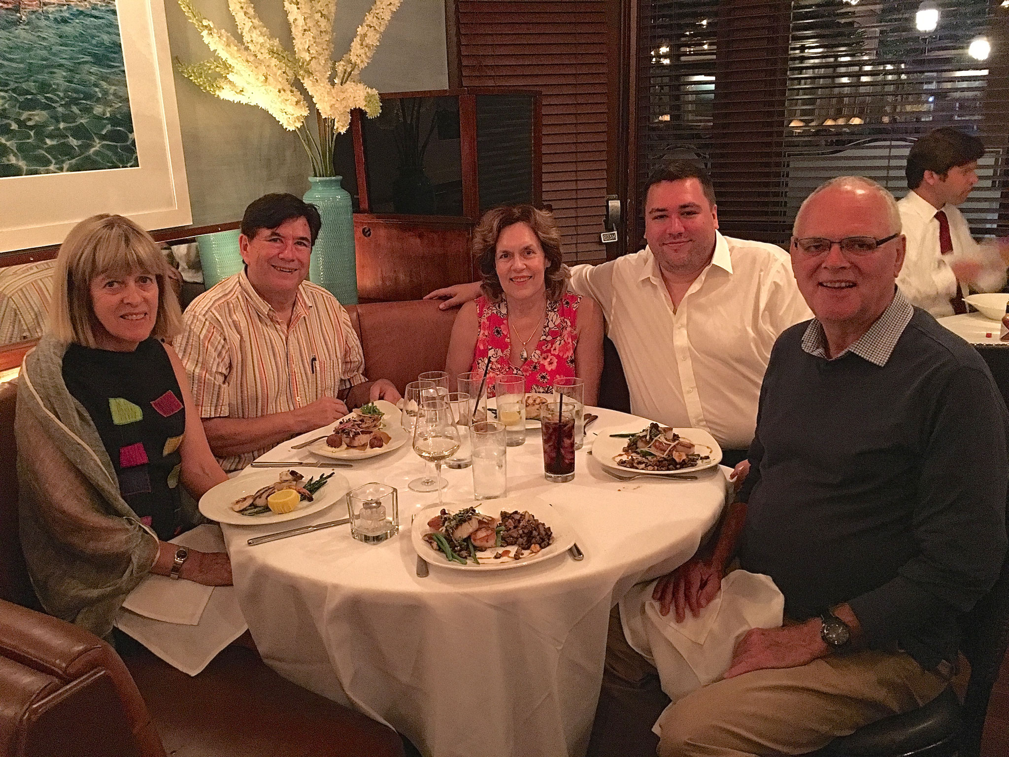 Nancy, John, Lorraine, Greg, & Bernd at the Atlantic Grill, dinner, 7-31-17