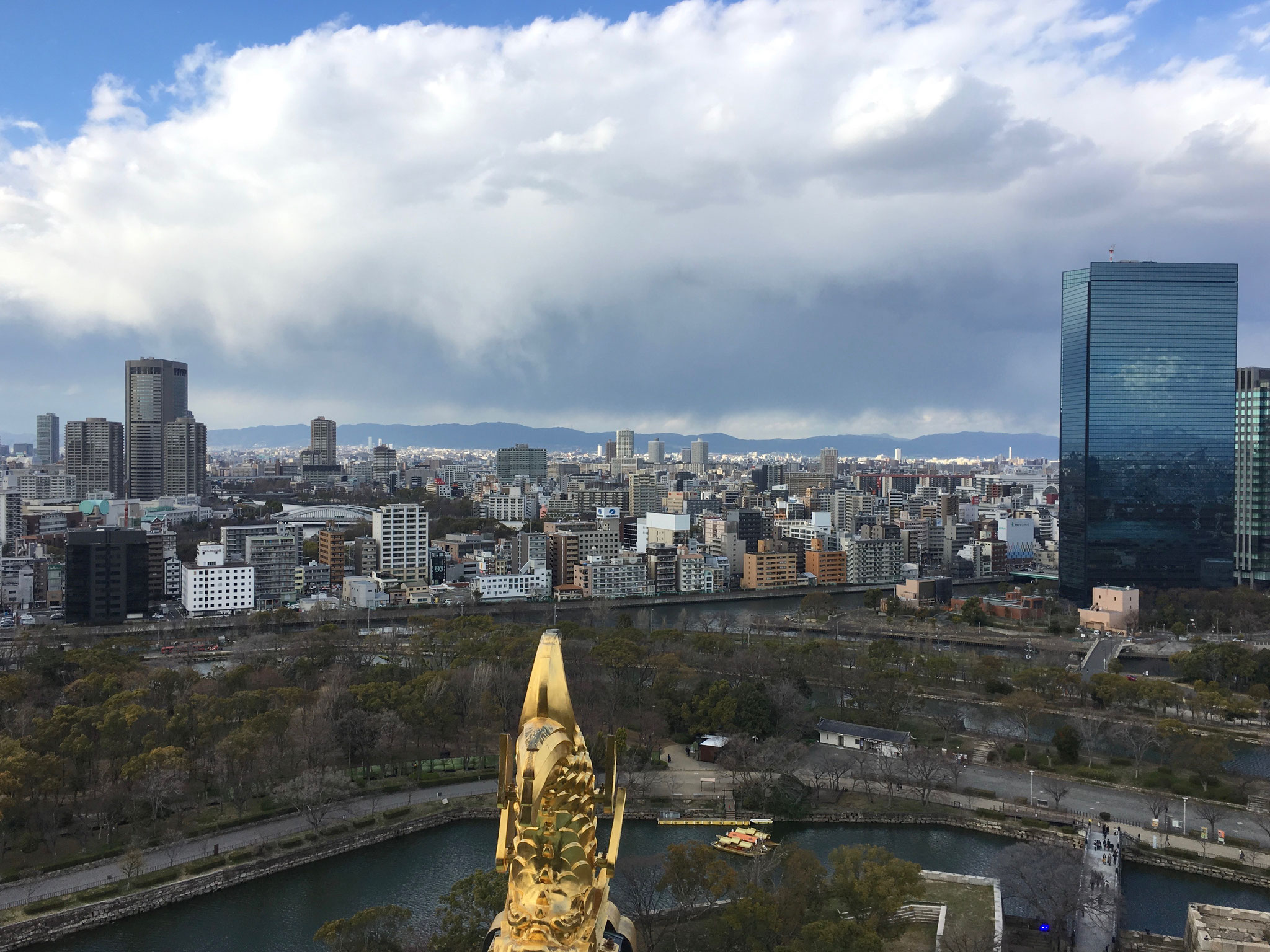 Views of Osaka from the top of Osaka Castle