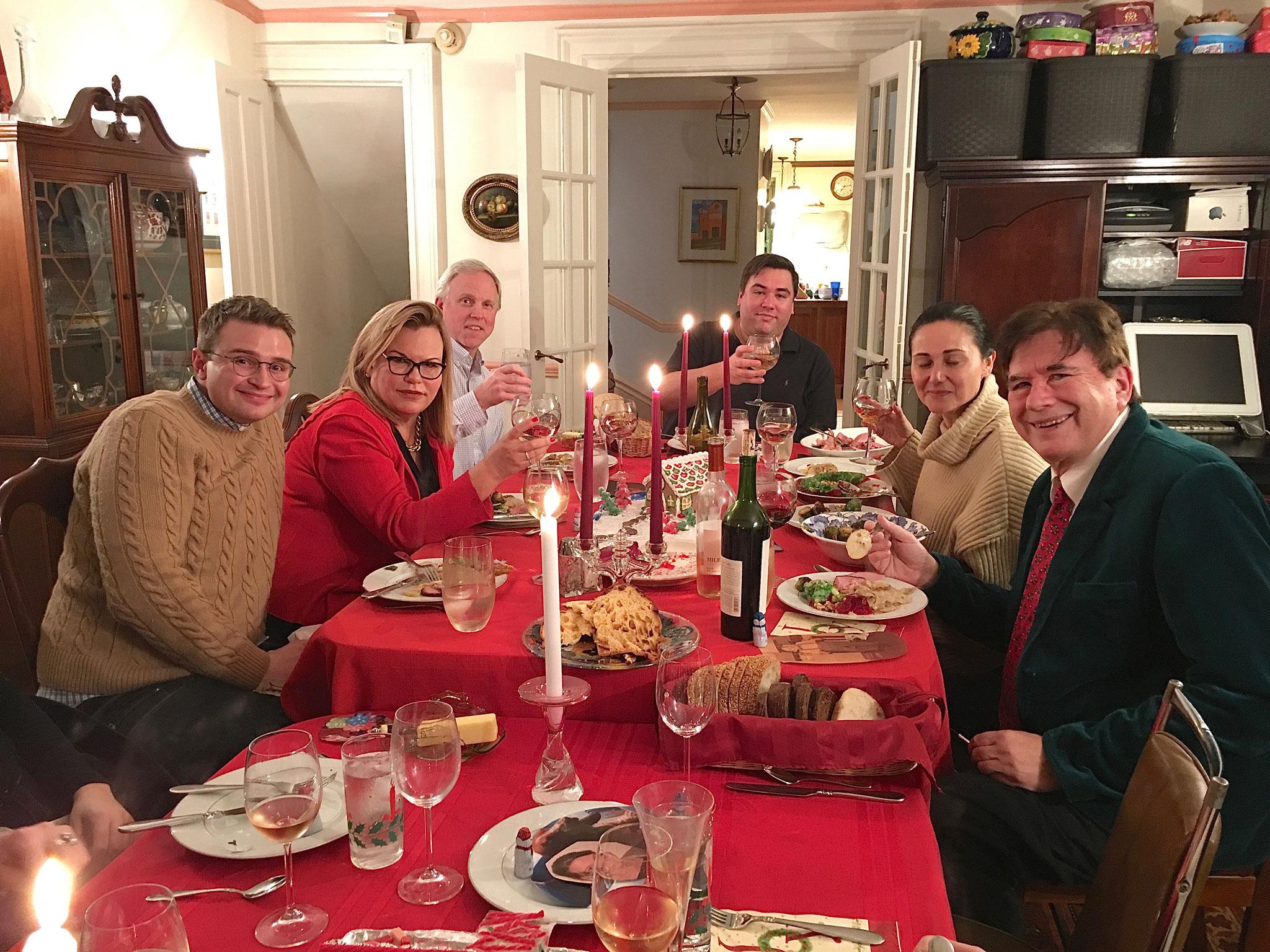 George, Celeste, Stuart Jr., Greg, Allie & John, Xmas dinner, E. 85th St.