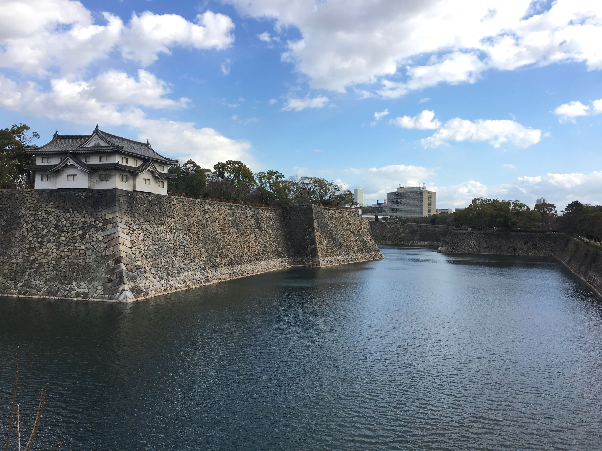 Moat around an outbuilding at Osaka Castle.