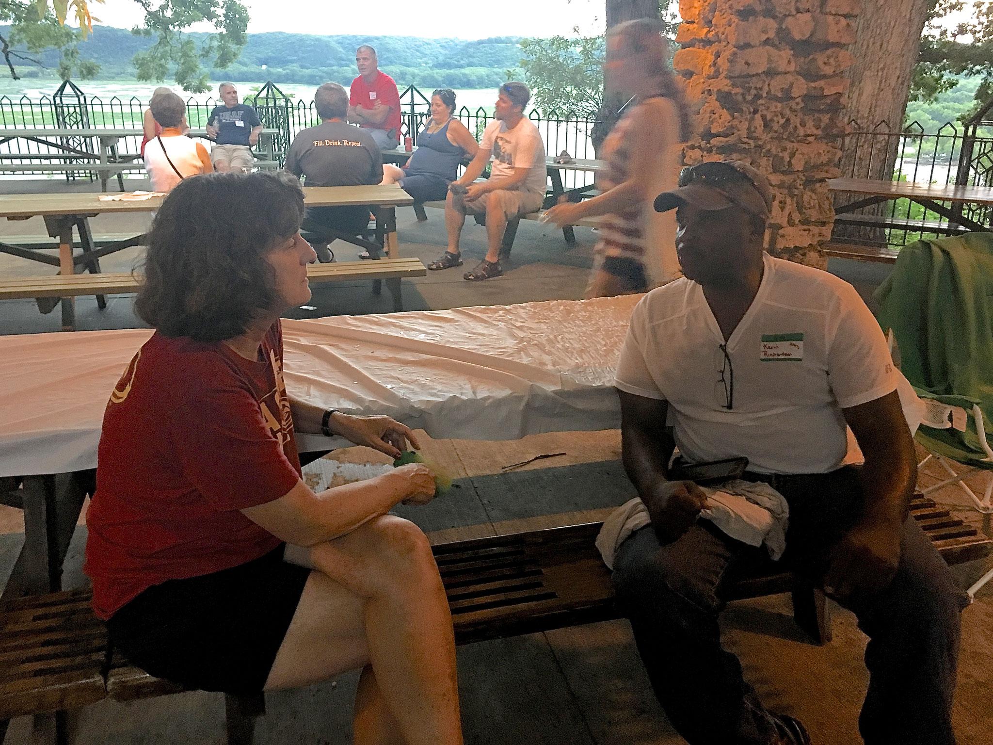 Ann Ackerman chatting with Kevin Richardson