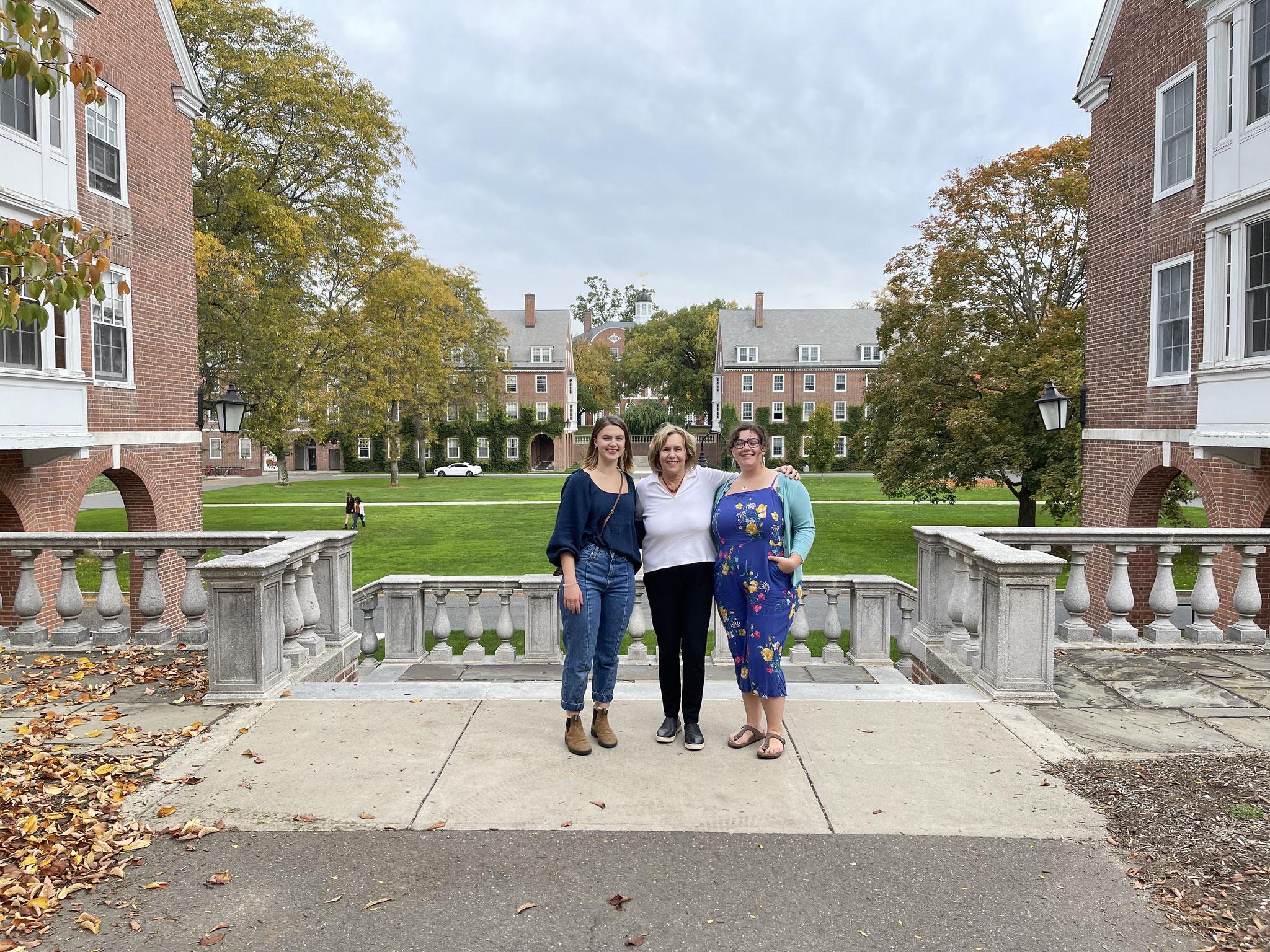 Kate Kagel, Lorraine, & Aimee, Kate's friend, 10-16-21, on the Quadrangle.