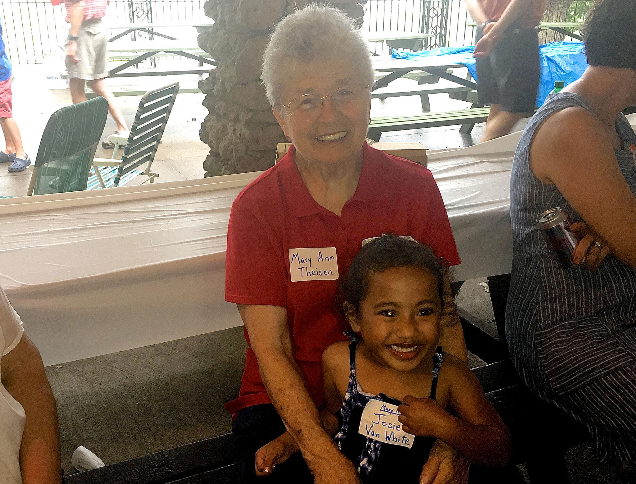 Mary Ann holds her great grandaughter, Josie Van White.