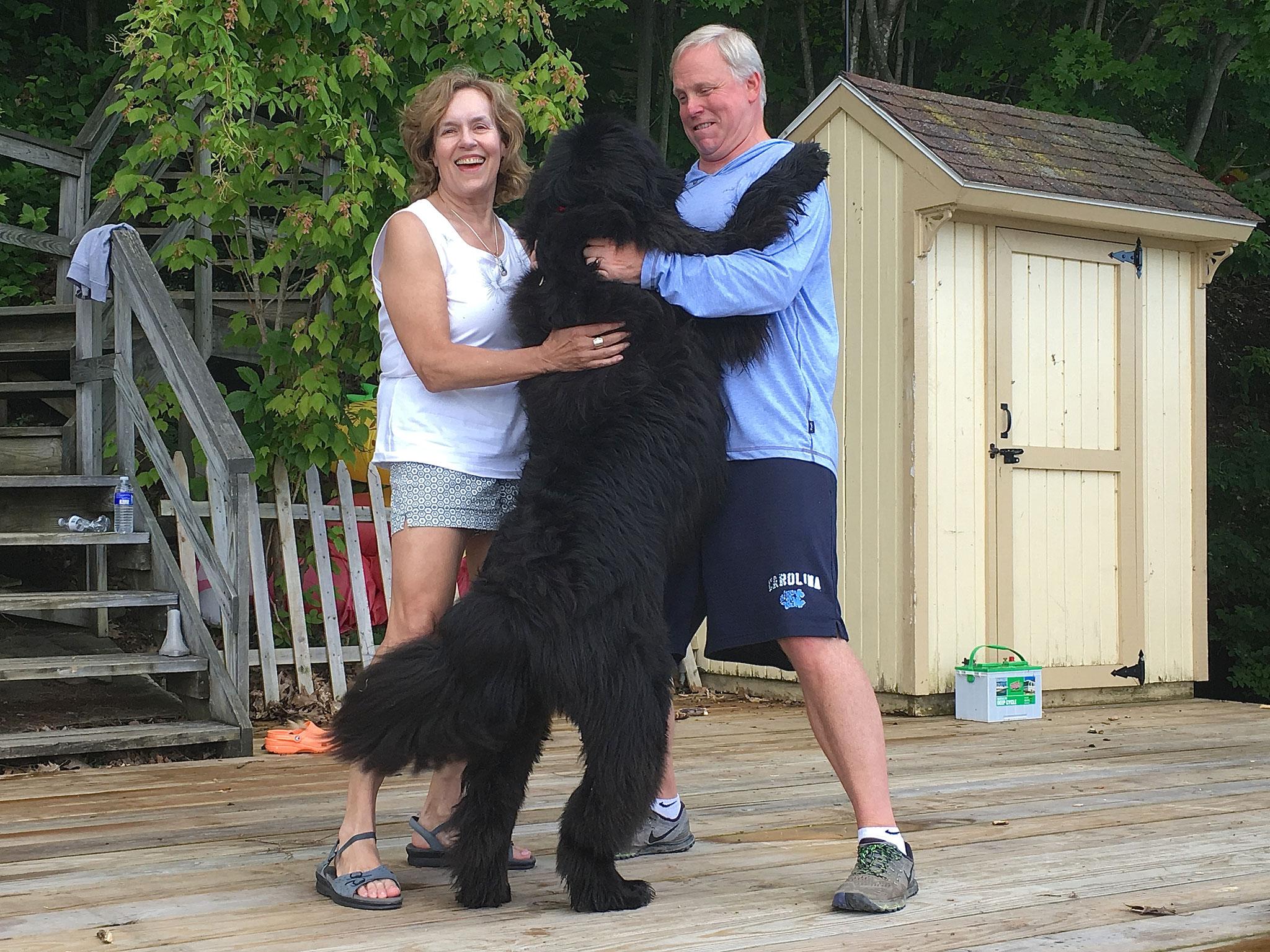 Lorraine & Stuart Jr., and Lola, the dog  July 4, 2017