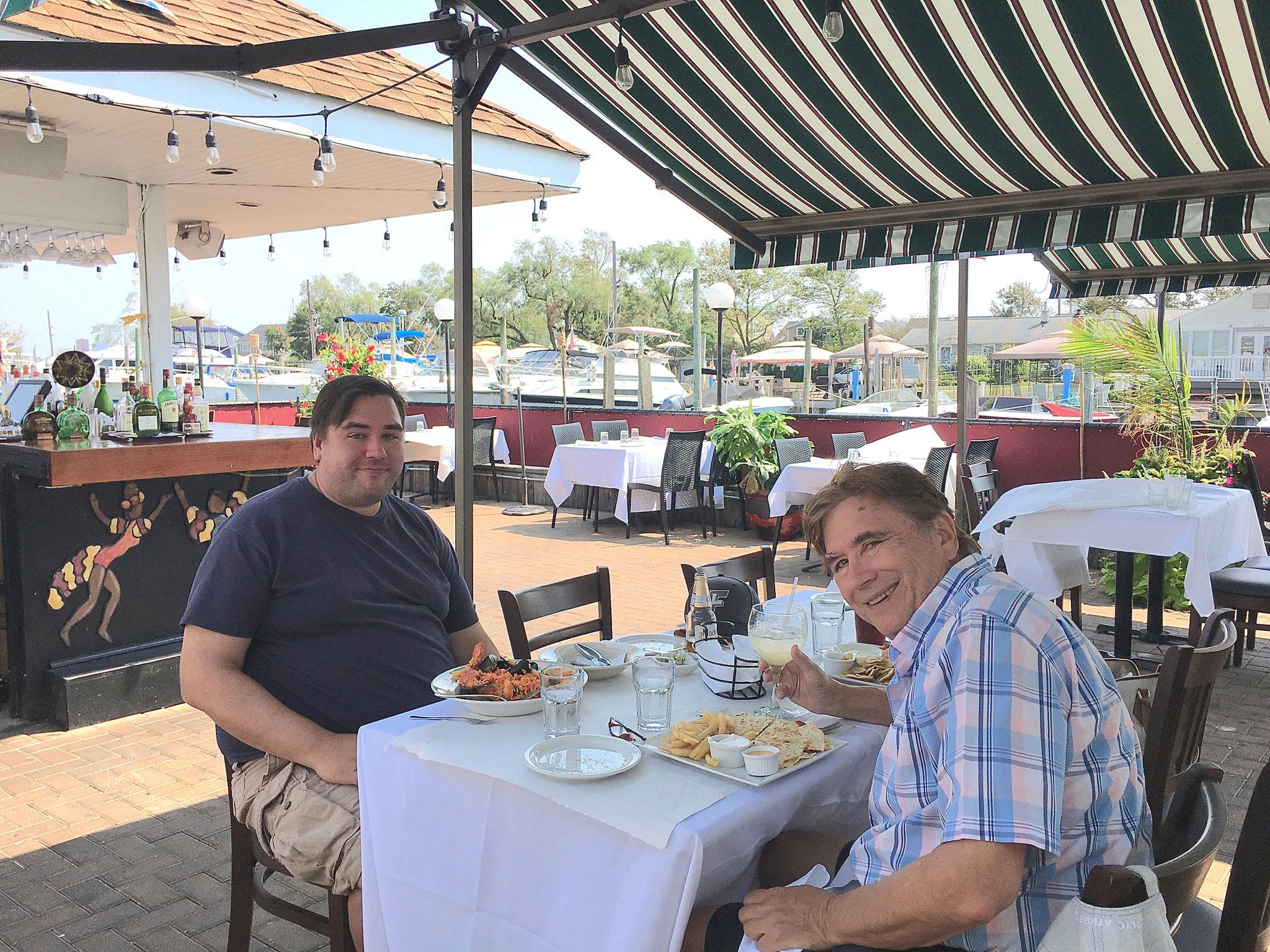 Greg & John, dining after swimming at Jones Beach, 8-2020