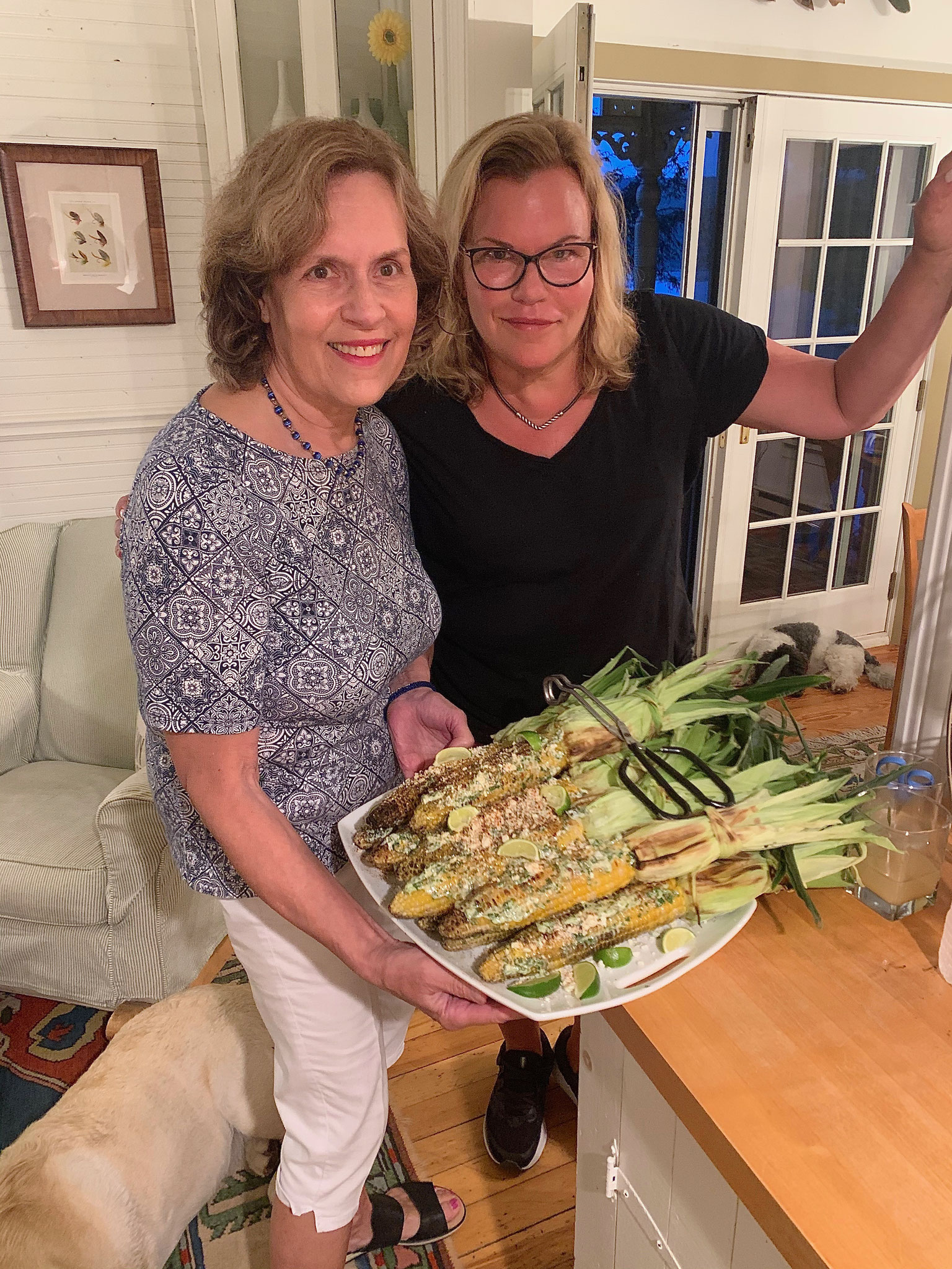 Lorraine & Celeste with Ellie & Dino's Mexican Corn!  Delicious..