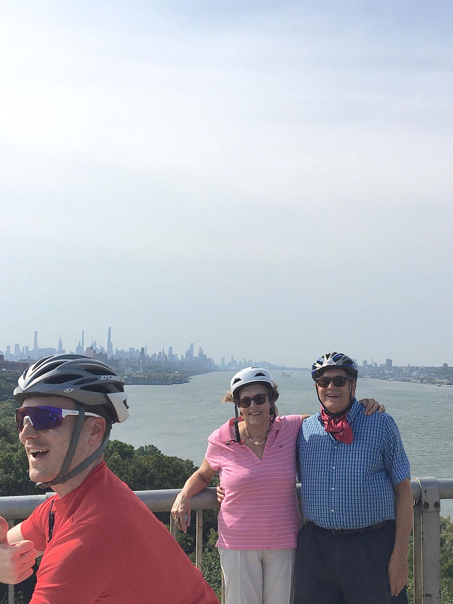 Photobombed by a happy biker, biking on the GW Bridge, 10-10-20