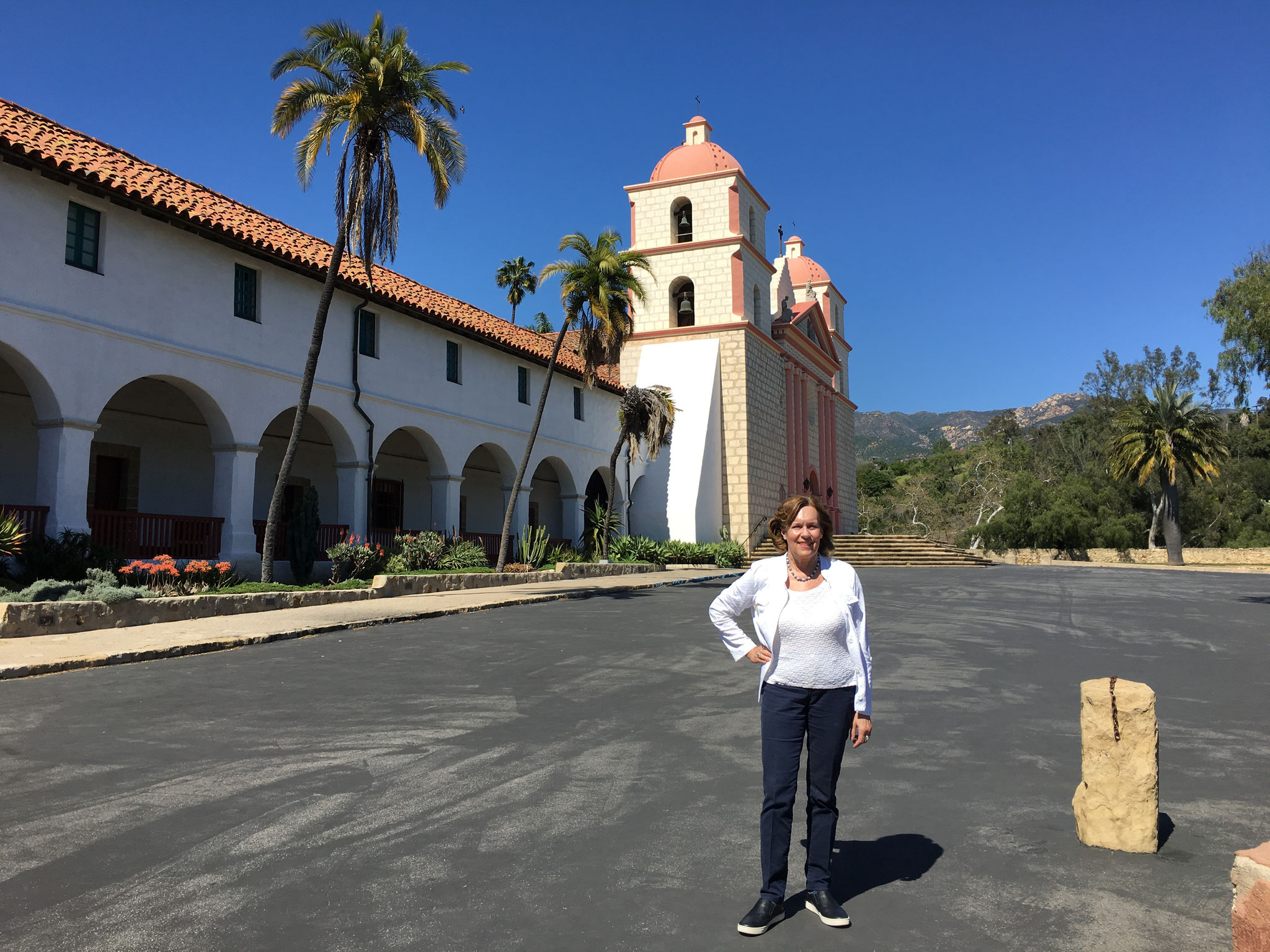 Lorraine at the Santa Barbara mission, March 2017, Santa Barbara, CA