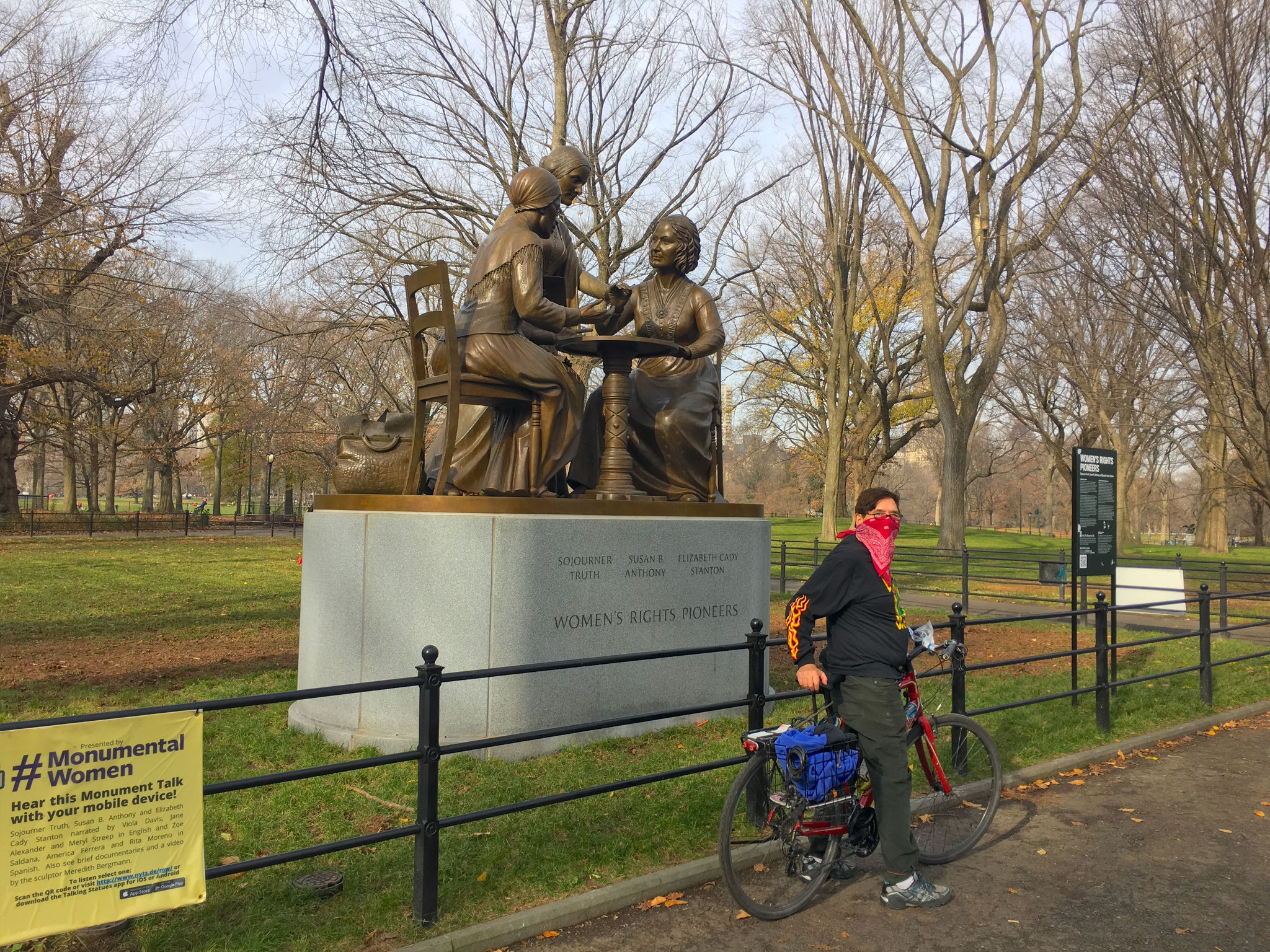 The Bandit 31, visiting the statue for Women's Rights in Central Park, Dec. 2020