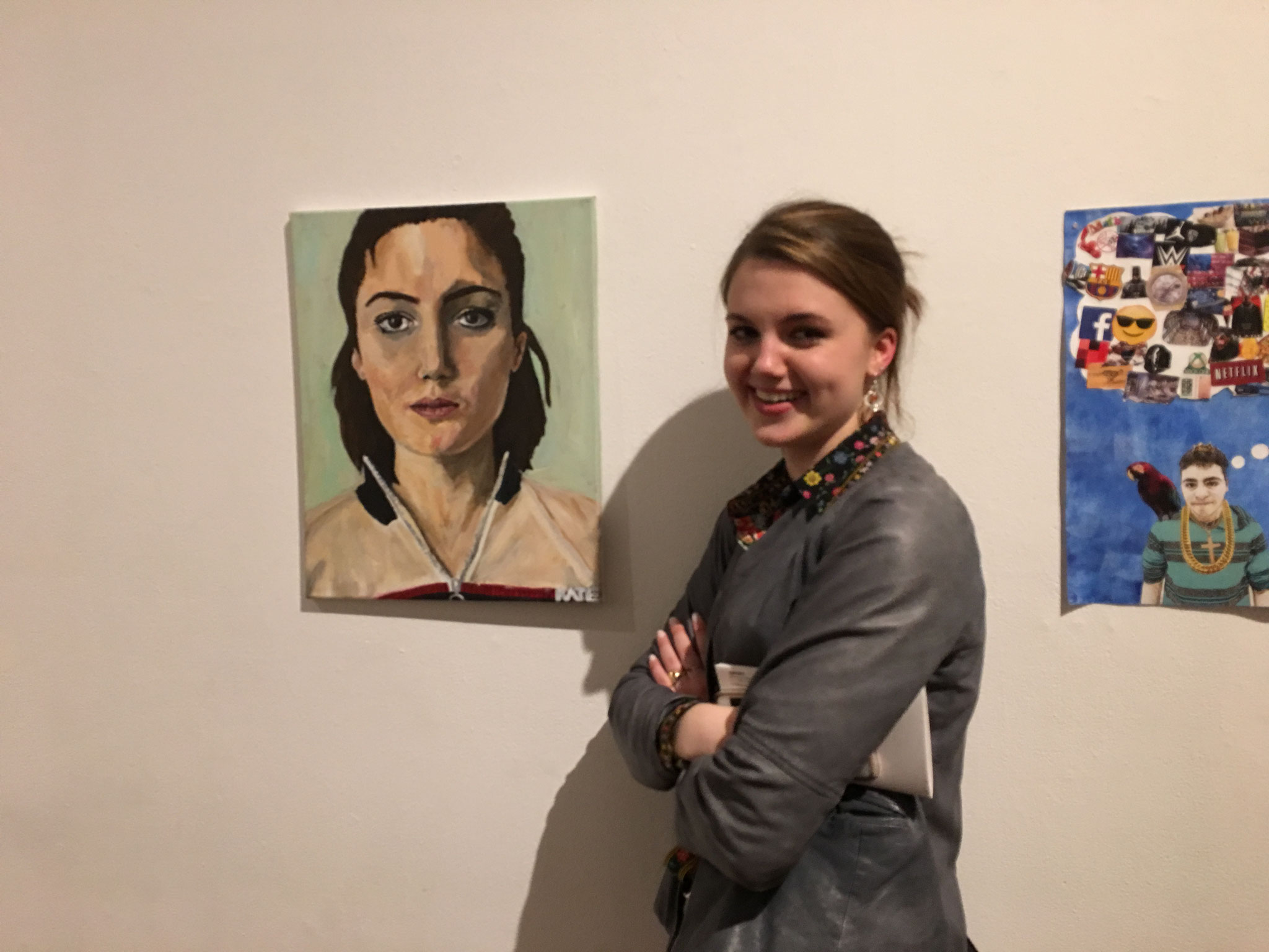 Kate K. with her artwork on display, Srping, 2018