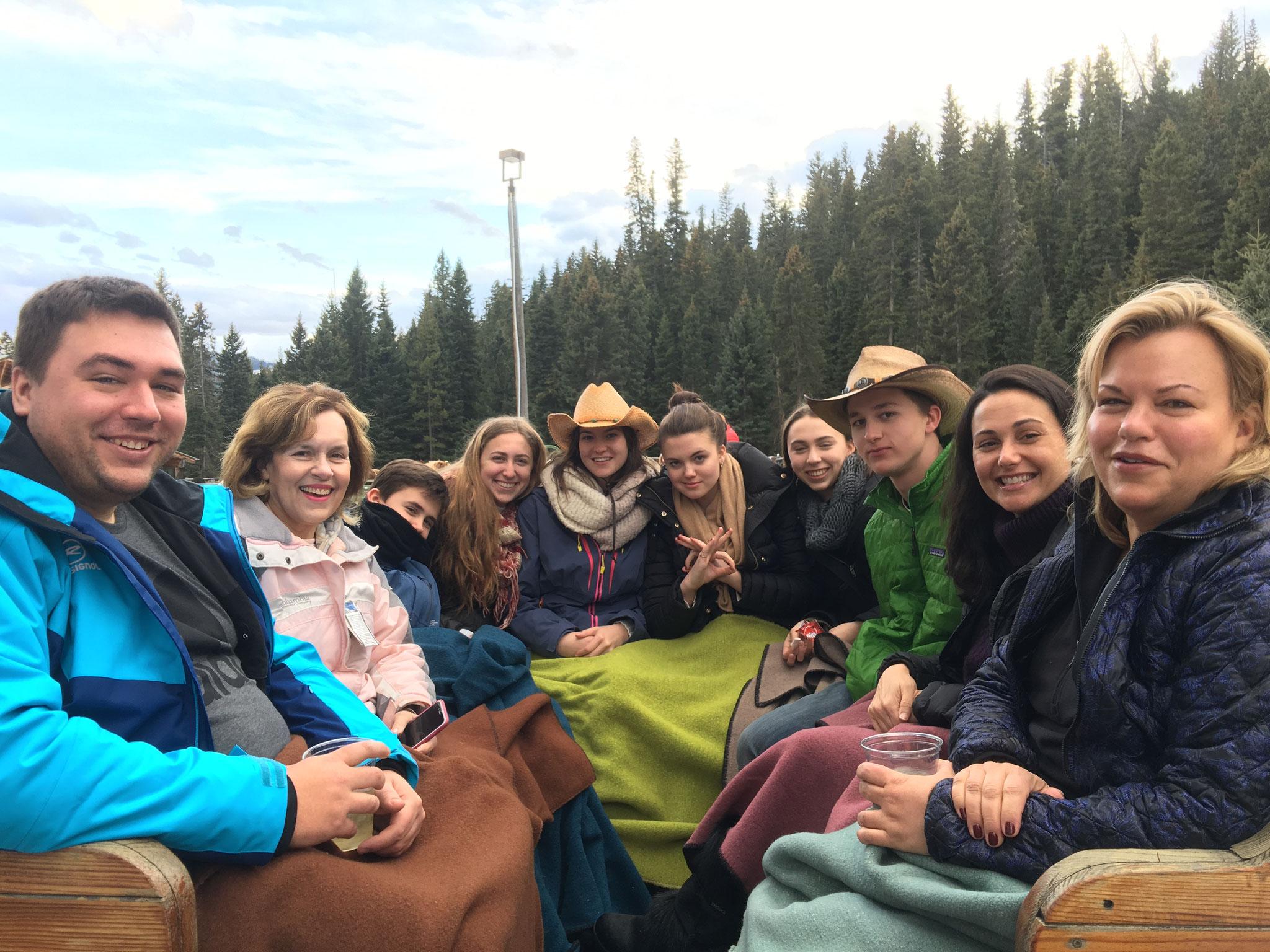 Group Sleighride, Big Sky, Montana, March, 2017