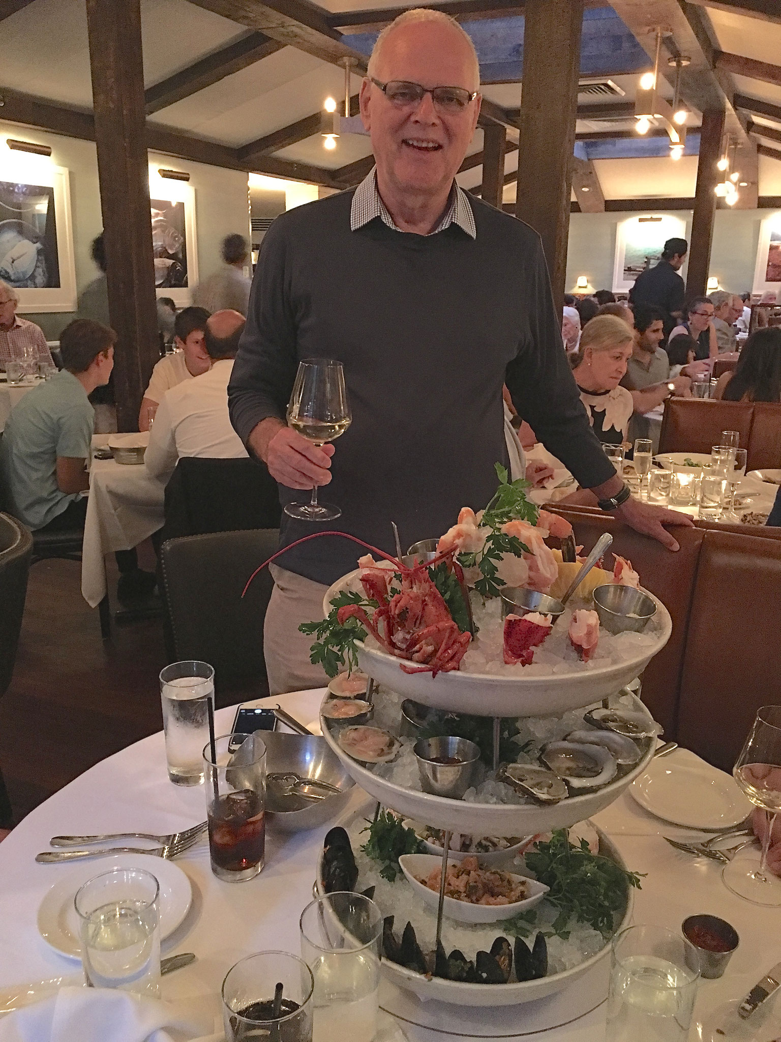 Bernd with the Huge Shellfish Tower at the Atlantic Grill