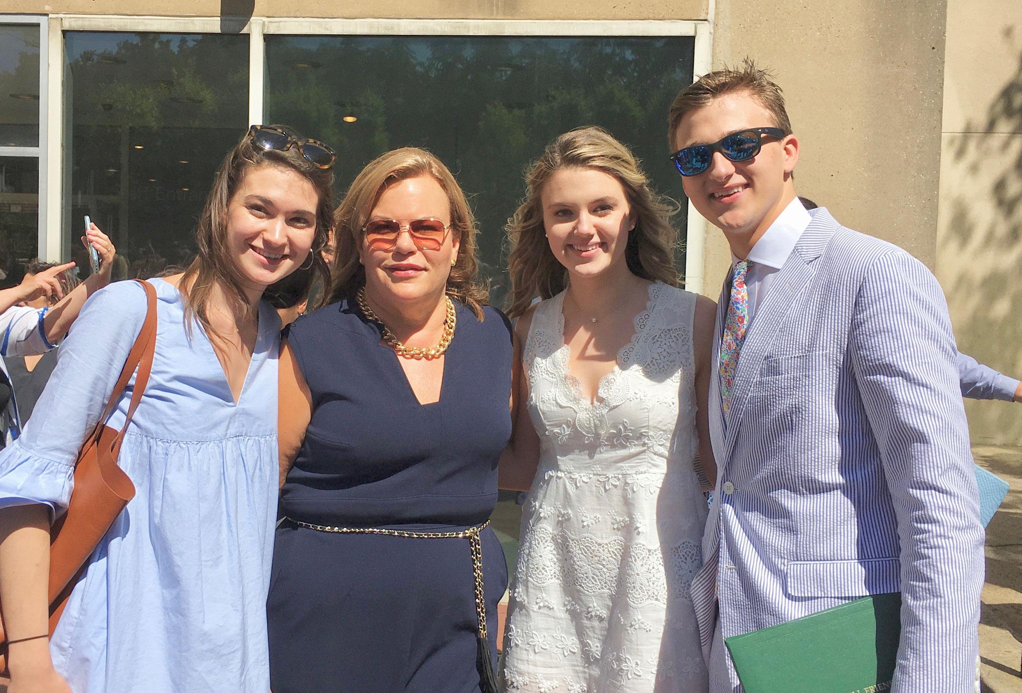 Ellie, Celeste, Kate & Jack, at Kate & Jack's graduation, June, 2019