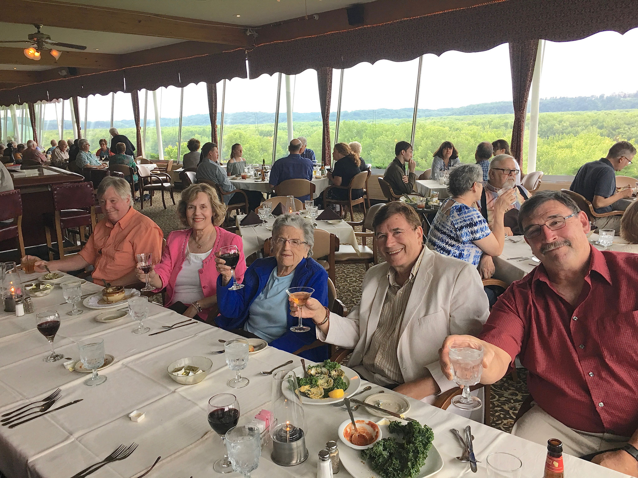 Mary Lou's 95th B'day Celebration, Timmerman's along the Mississippi River June, 2019 John A., Lorraine, Mary Lou, John Wagner, Paul Wagner