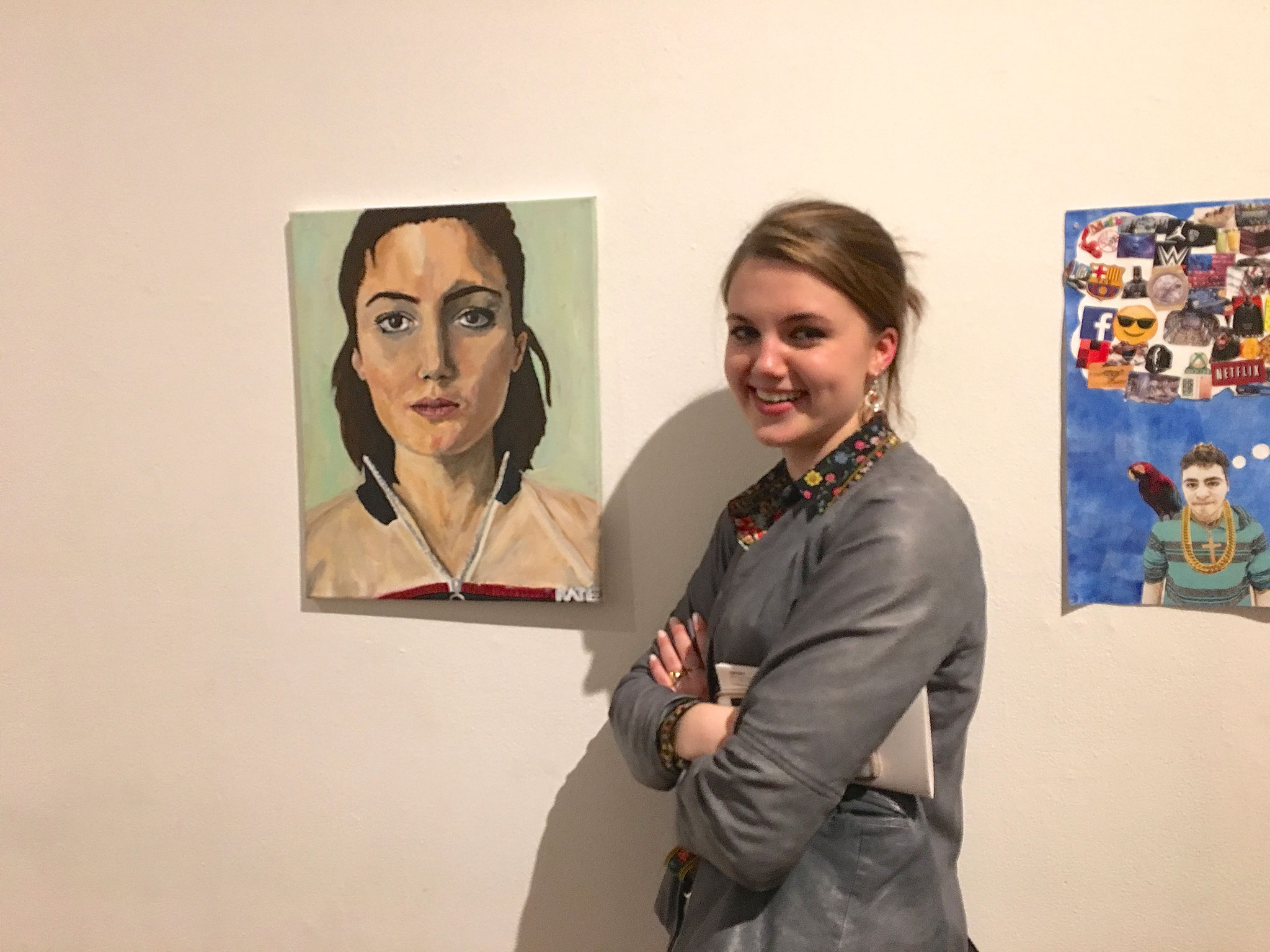 Kate with her artwork at a gallery in NYC, 4-27-18